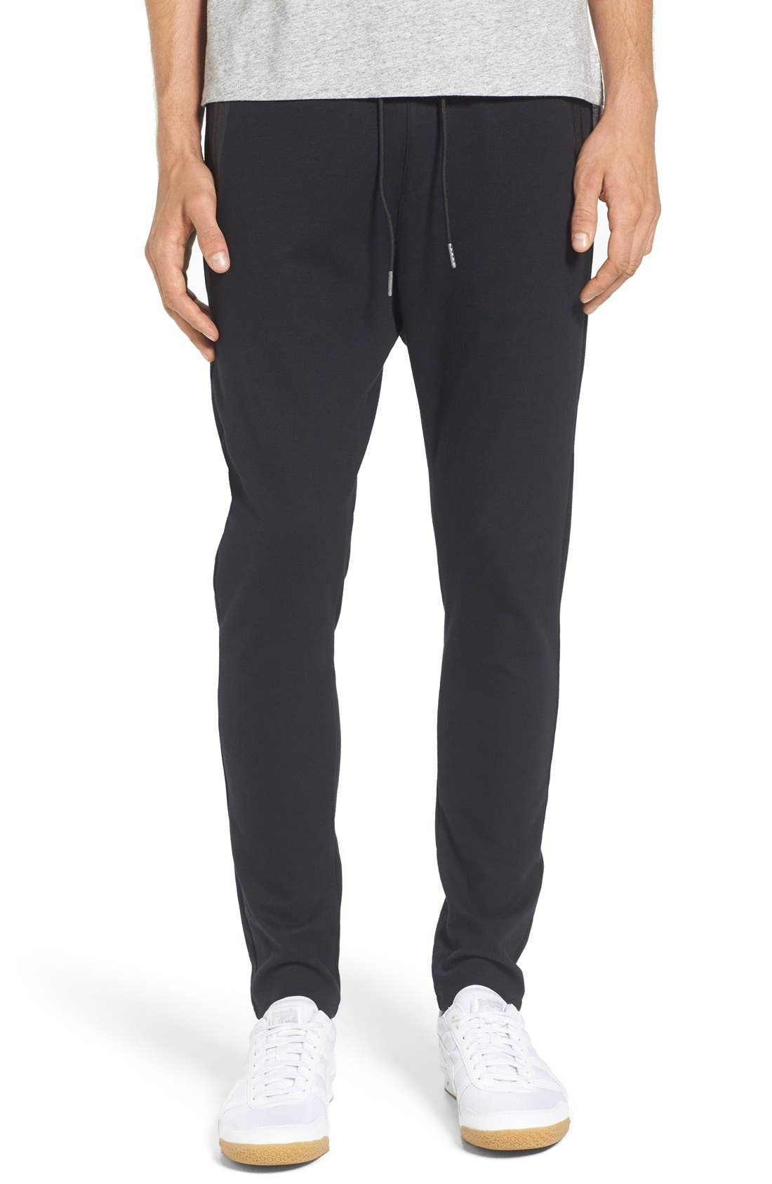 'Cling Ponte' Jogger Pants,                             Main thumbnail 1, color,                             Black