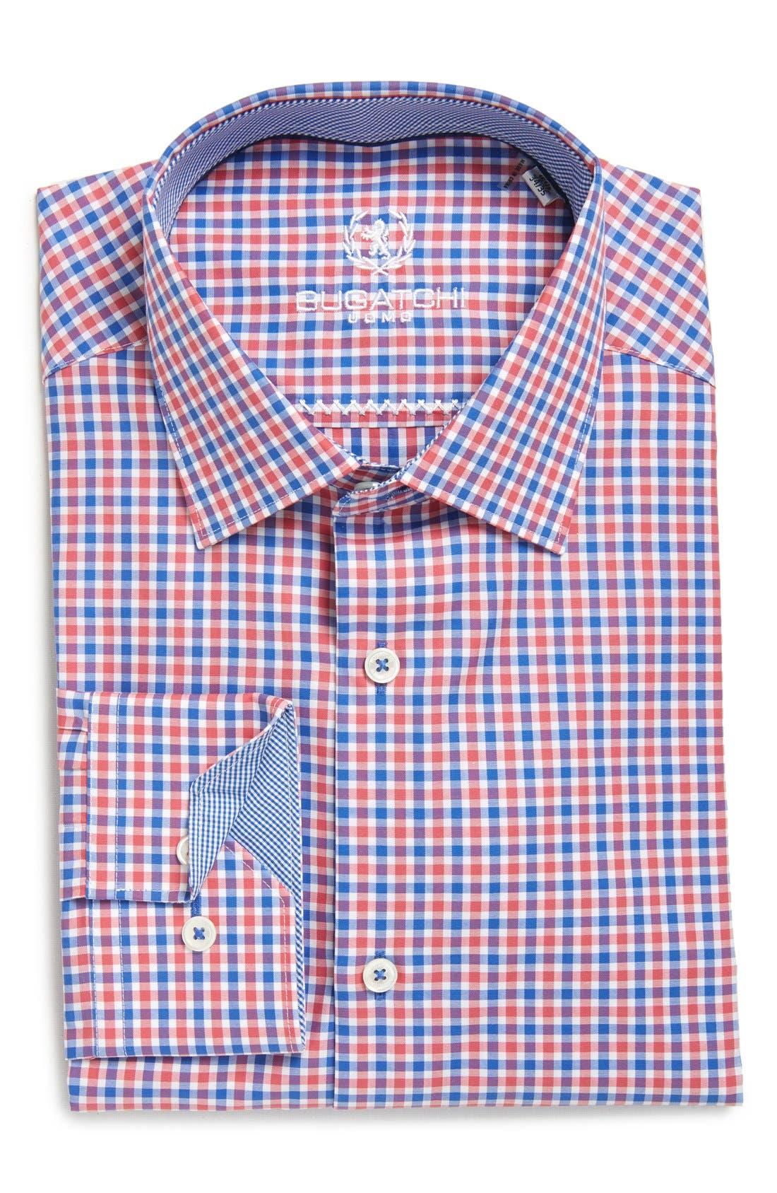 Trim Fit Check Dress Shirt,                         Main,                         color, Coral