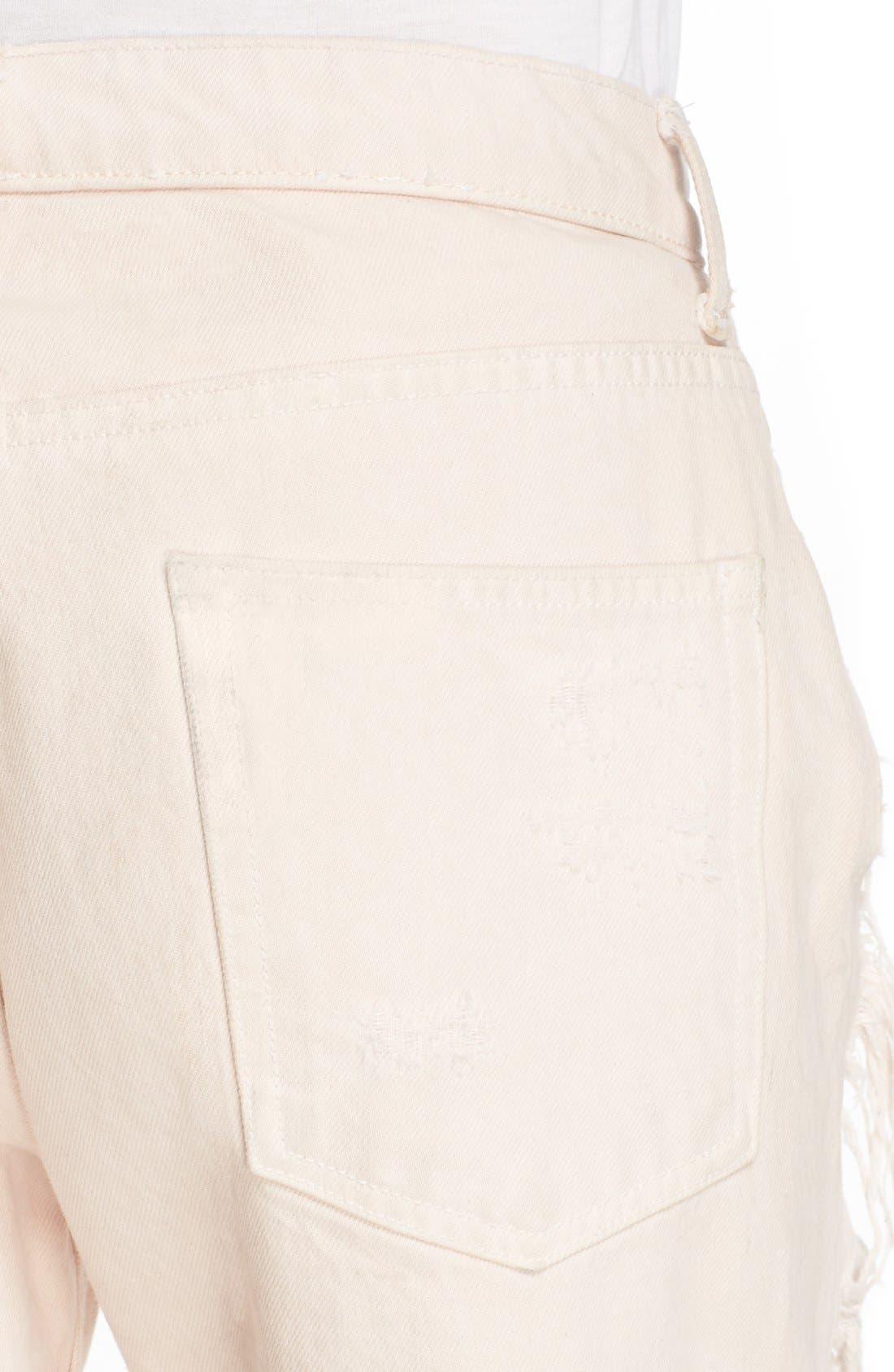 Alternate Image 5  - Alexander Wang 'Rival' Destroyed Cutoff Jeans (Carnation)