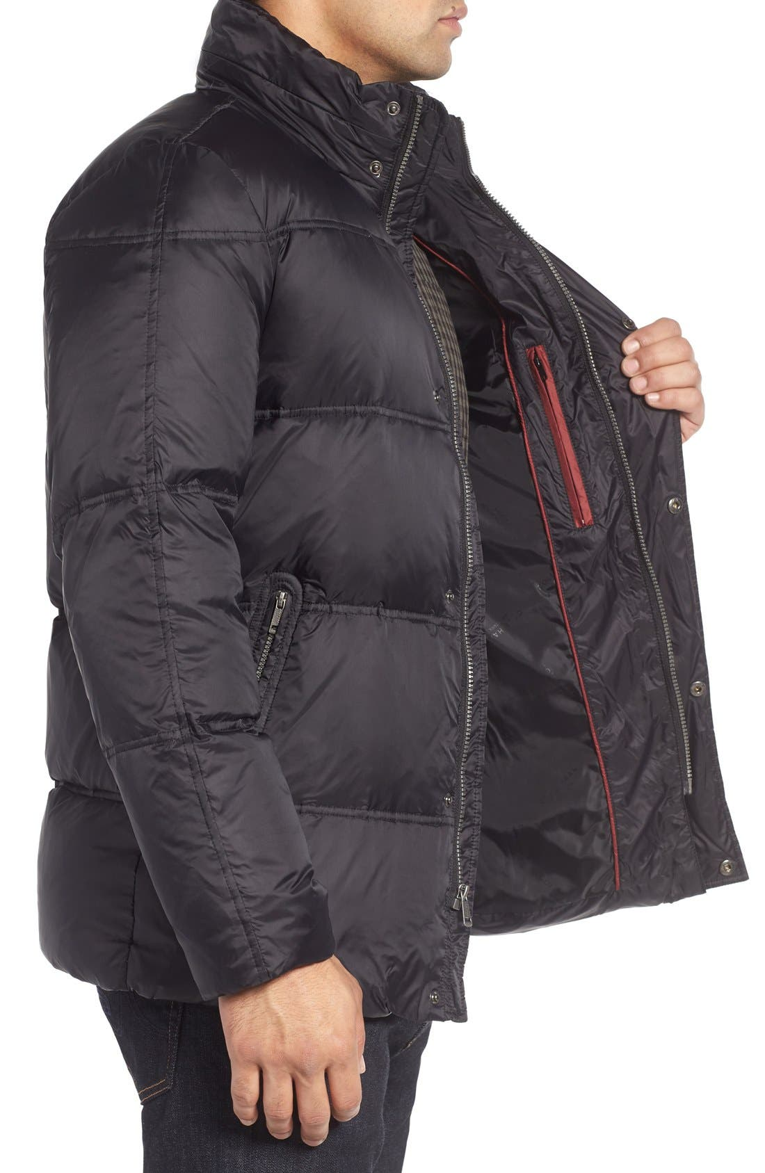 Quilted Jacket with Convertible Neck Pillow,                             Alternate thumbnail 3, color,                             Black