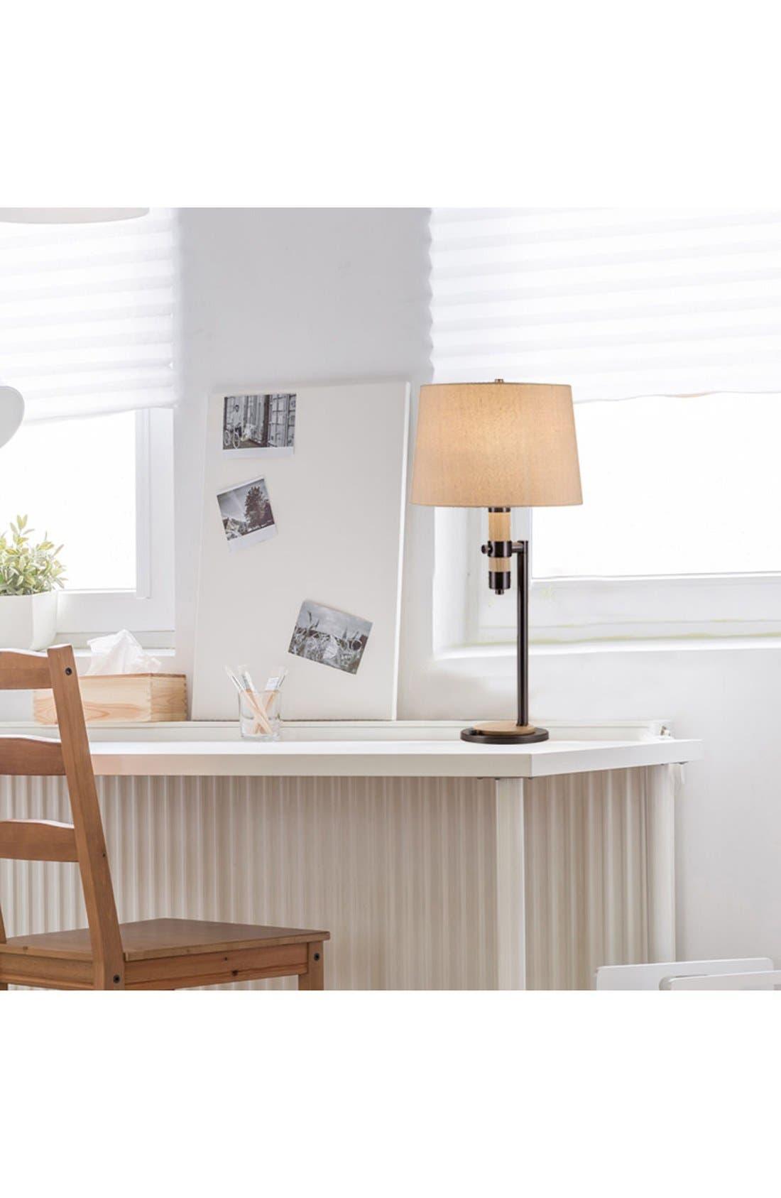 JAlexander Wood & Metal Table Lamp,                             Alternate thumbnail 2, color,                             Brown