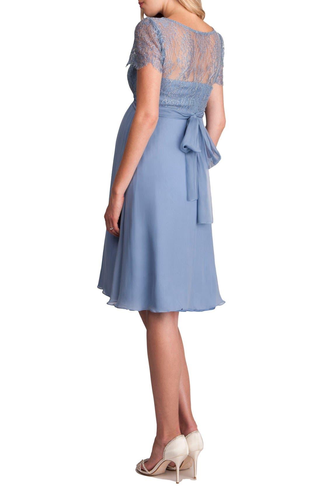 'Genevieve Luxe' Sleeveless Lace & Silk Maternity Dress,                             Alternate thumbnail 2, color,                             Paleblue
