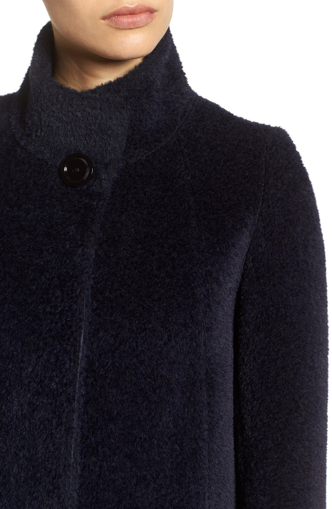 Stand Collar Wool & Alpaca Long A-Line Coat,                             Alternate thumbnail 4, color,                             Navy
