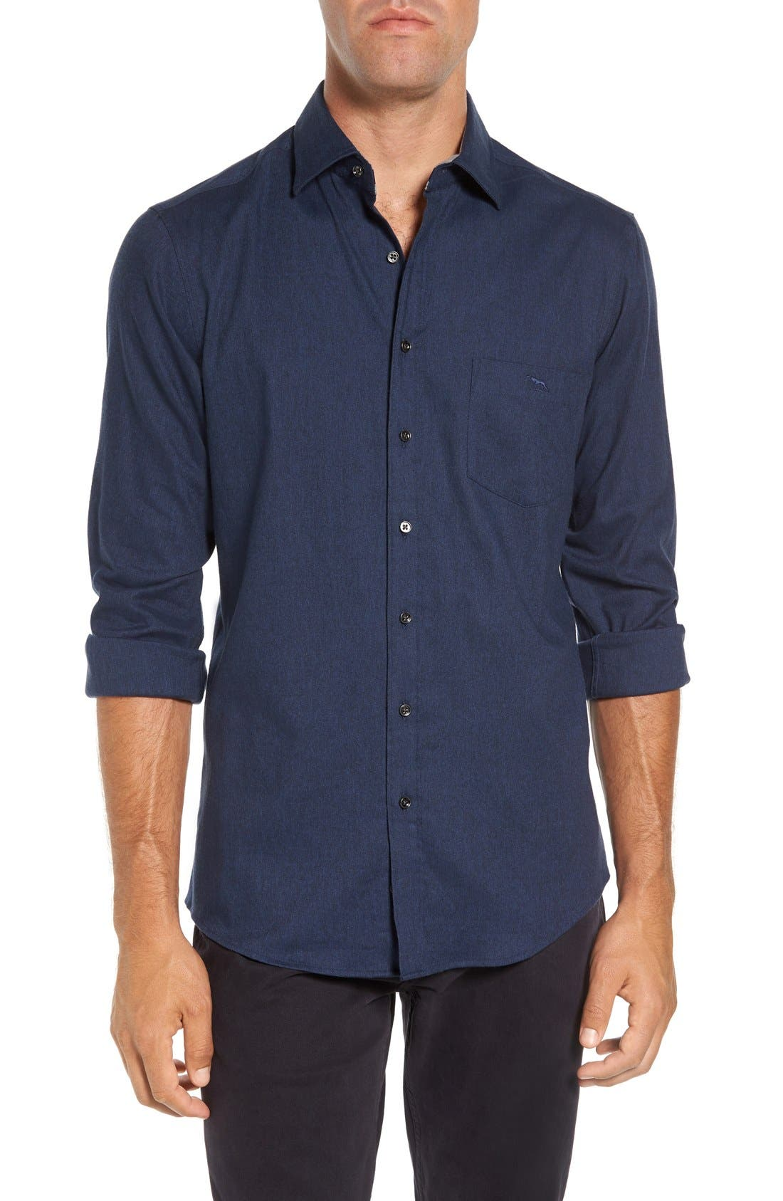 'Sinclair' Trim Fit Brushed Twill Sport Shirt,                         Main,                         color, Indigo