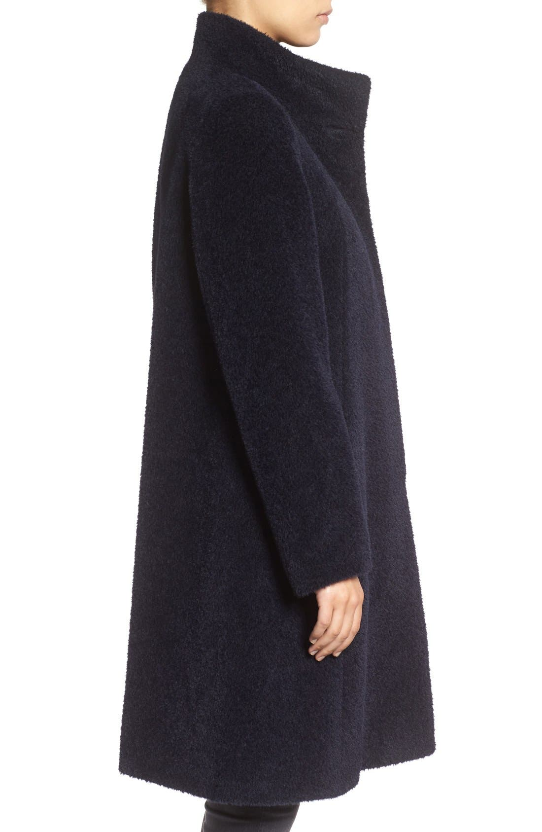 Stand Collar Wool & Alpaca Long A-Line Coat,                             Alternate thumbnail 3, color,                             Navy