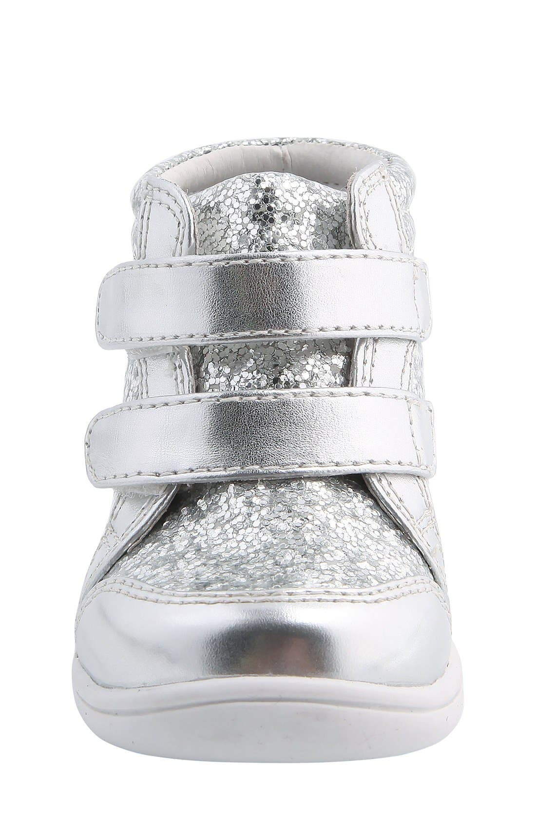 Nina 'Stardust' Metallic High Top Sneaker,                             Alternate thumbnail 5, color,                             Silver Metallic