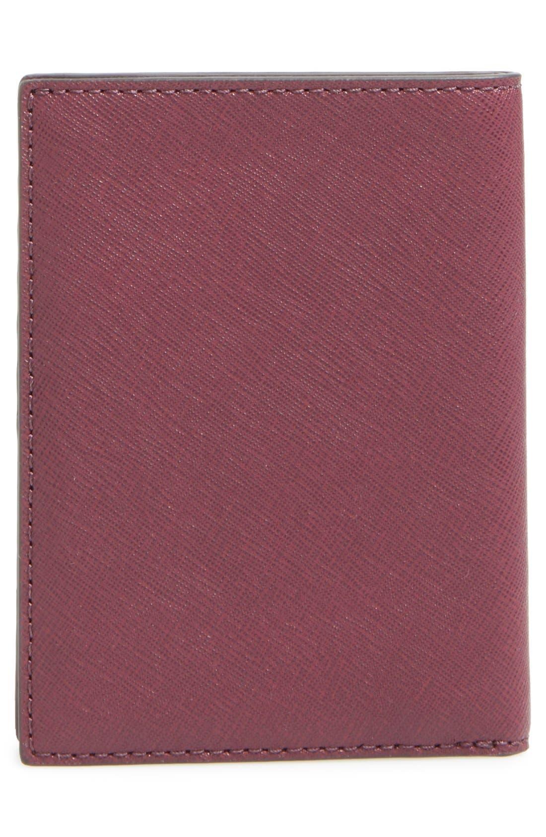 'Jet Set' Leather Passport Wallet,                             Alternate thumbnail 4, color,                             Plum/ Gold
