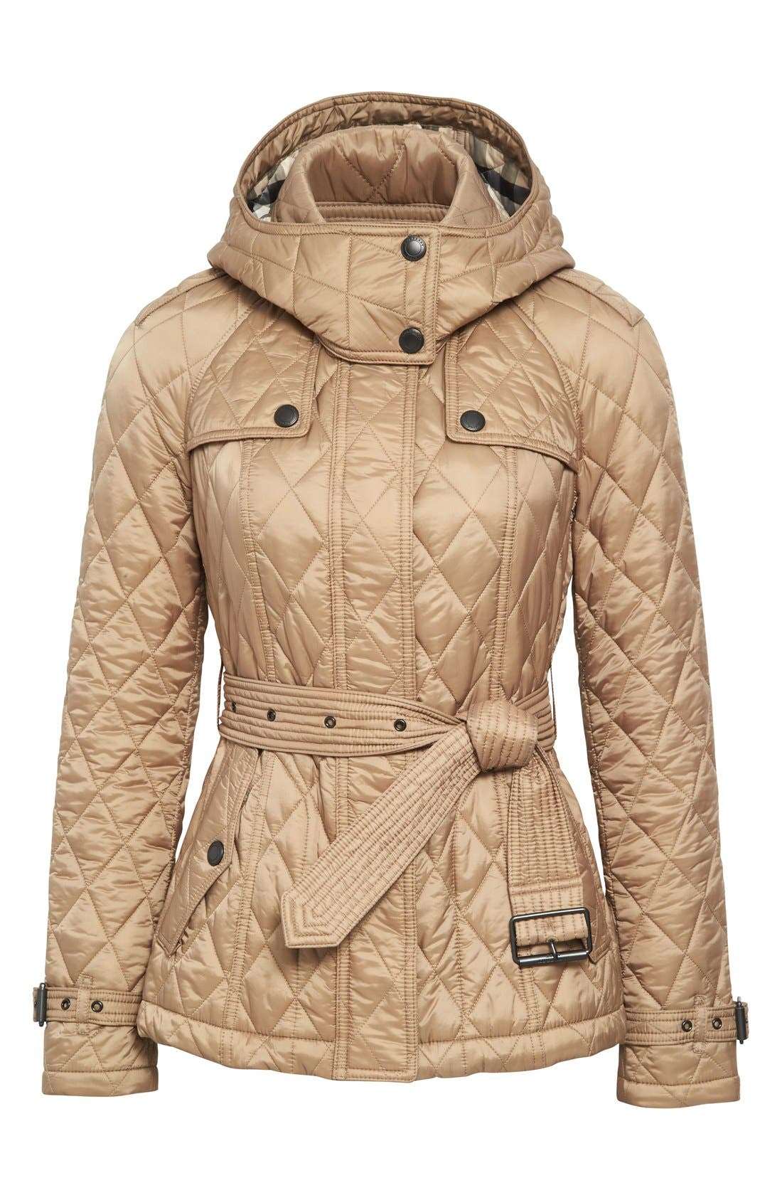 Finsbridge Short Quilted Jacket,                             Alternate thumbnail 4, color,                             Pale Fawn