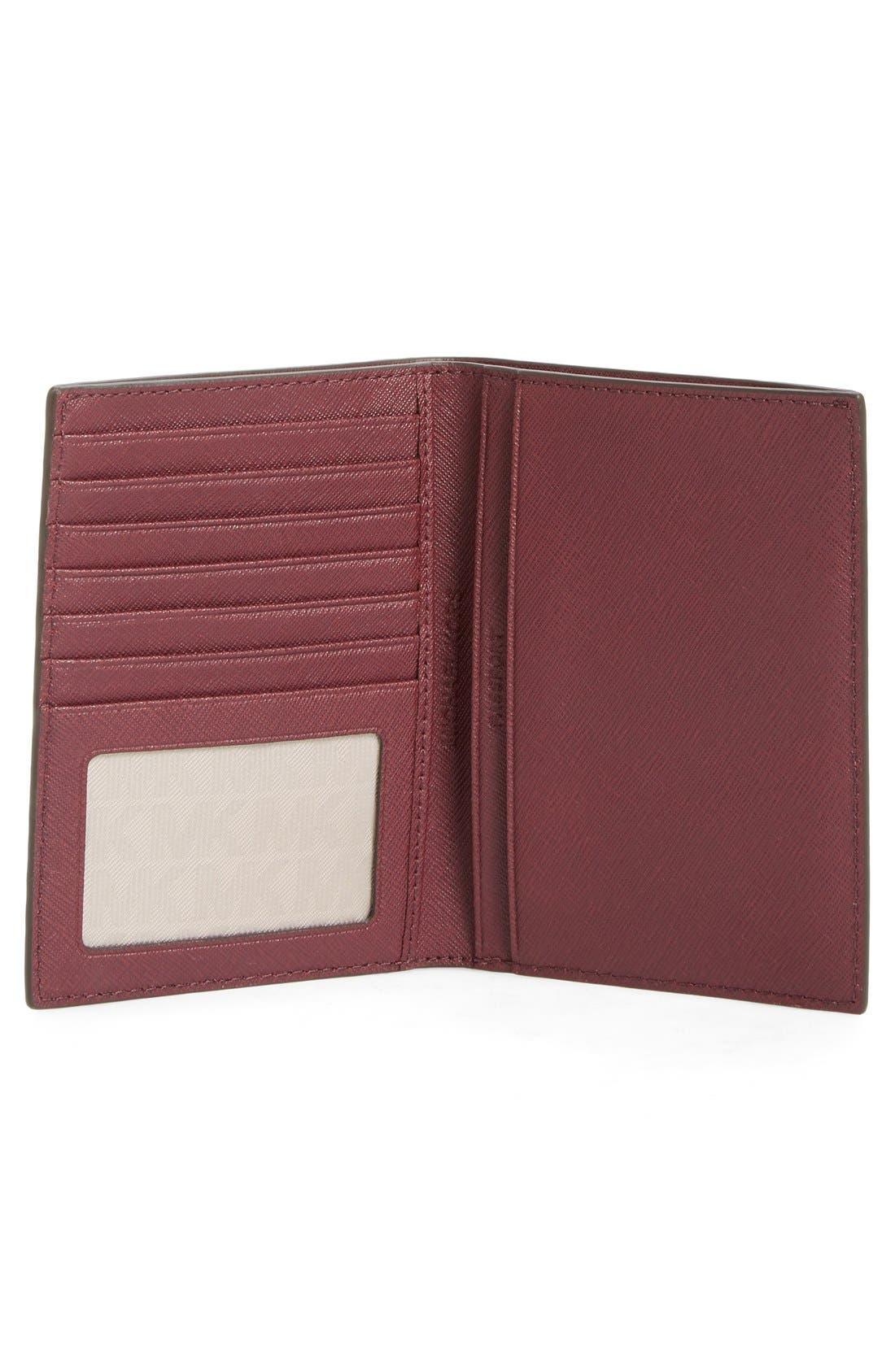 'Jet Set' Leather Passport Wallet,                             Alternate thumbnail 2, color,                             Plum/ Gold