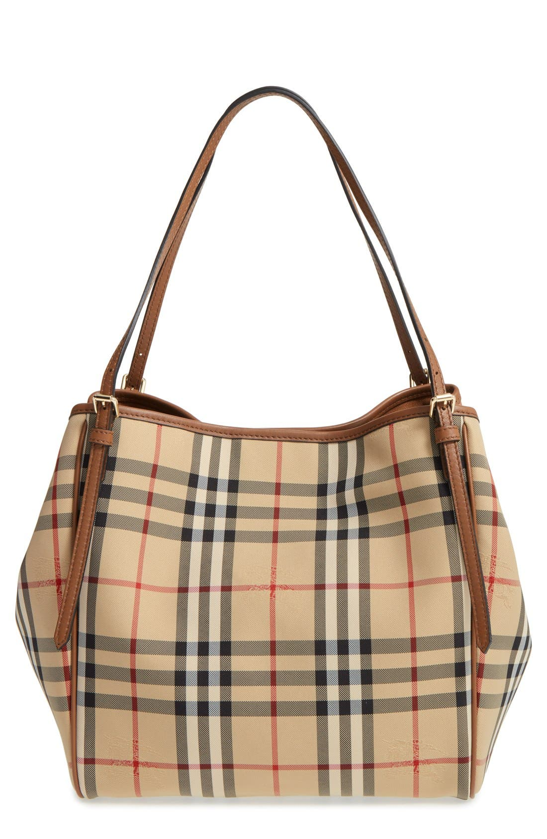 Main Image - Burberry Small Canter Check & Leather Tote