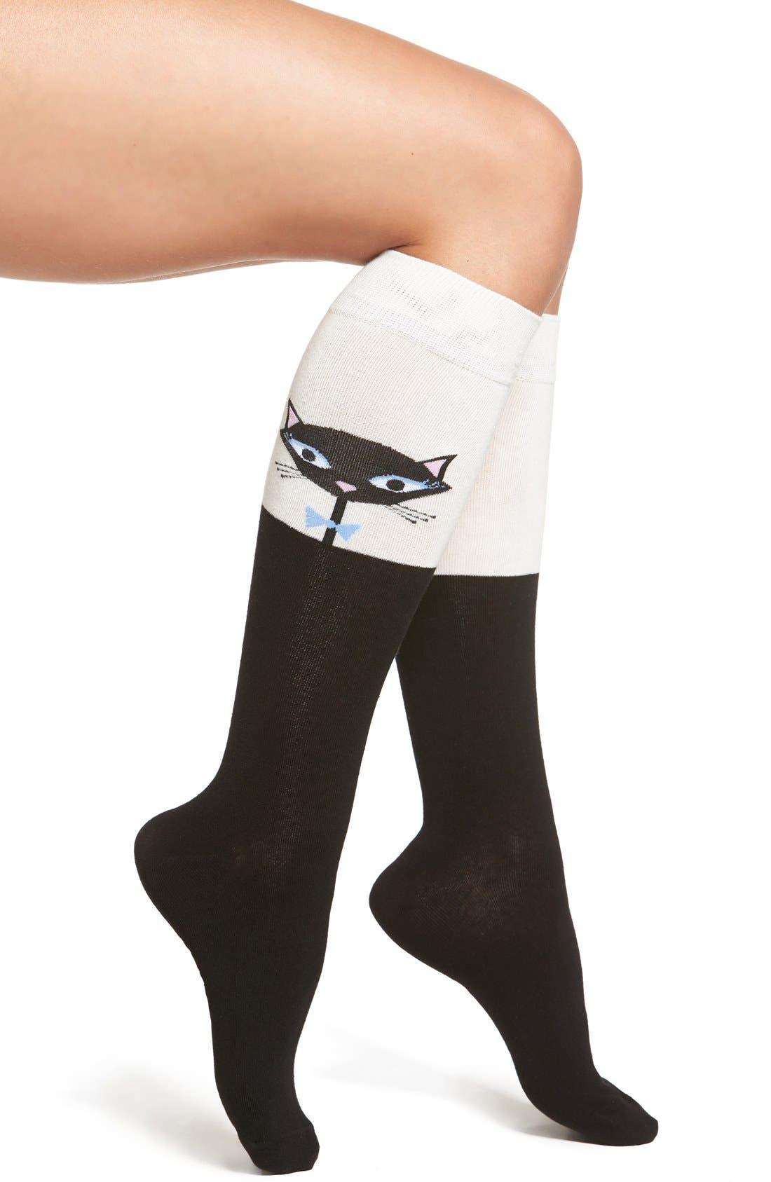 Alternate Image 1 Selected - kate spade new york cool cat knee high socks