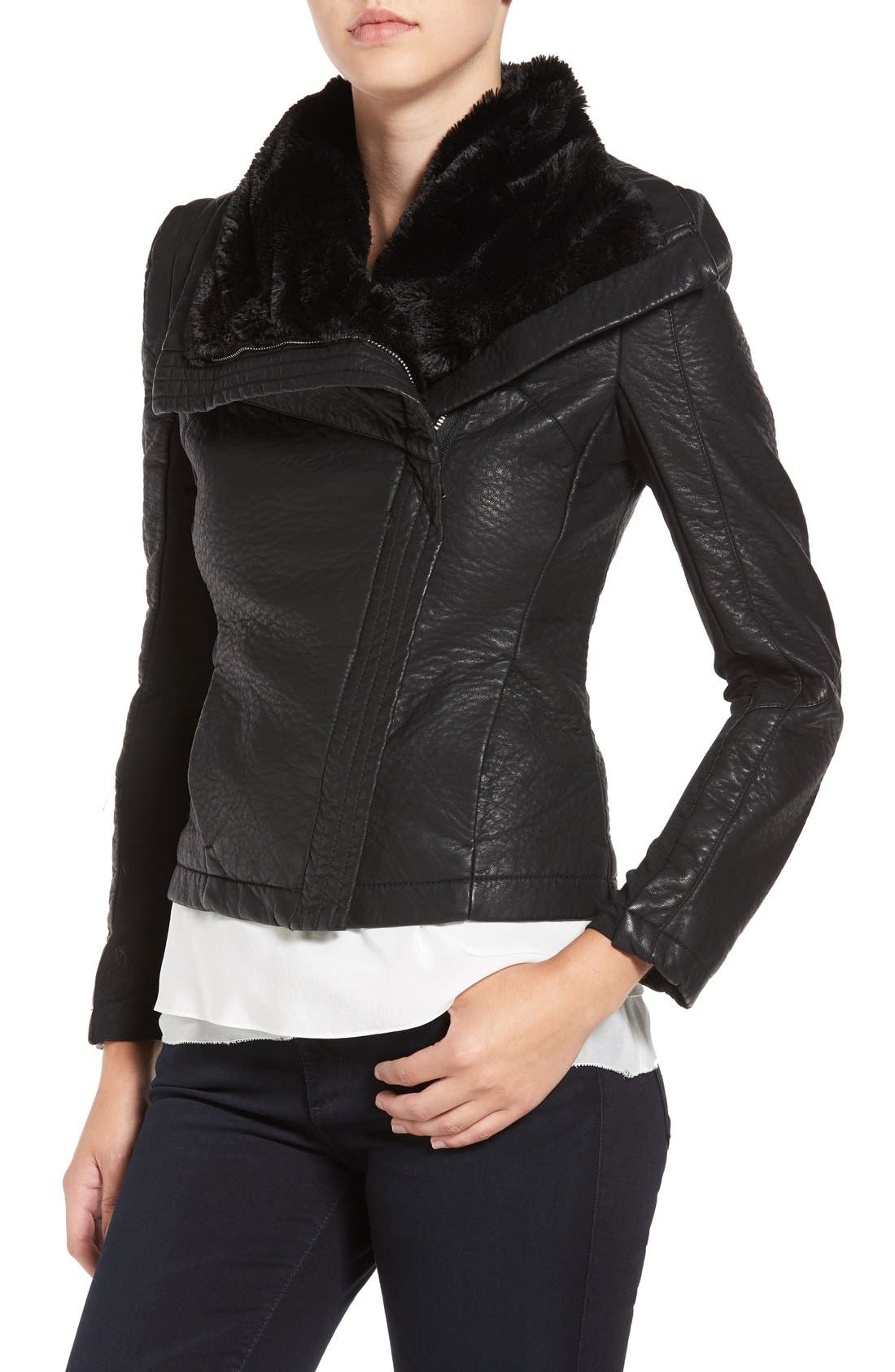 Faux Leather Jacket with Faux Shearling Trim,                             Alternate thumbnail 4, color,                             Black