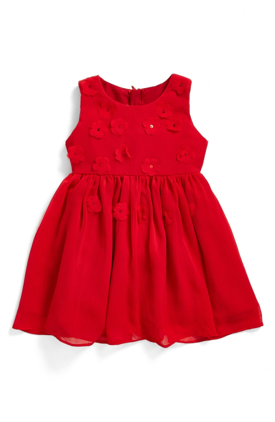 Floral Fit & Flare Dress,                         Main,                         color, Red
