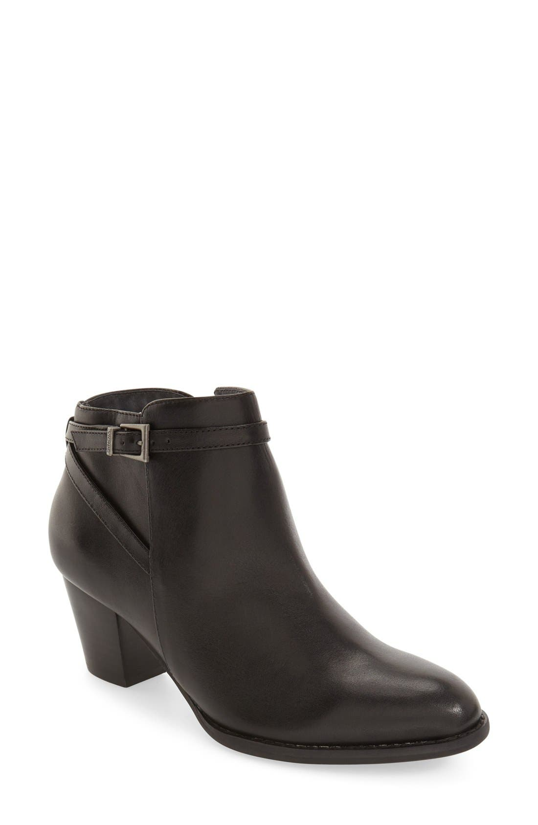 'Upton' Block Heel Boot,                             Main thumbnail 1, color,                             Black Leather