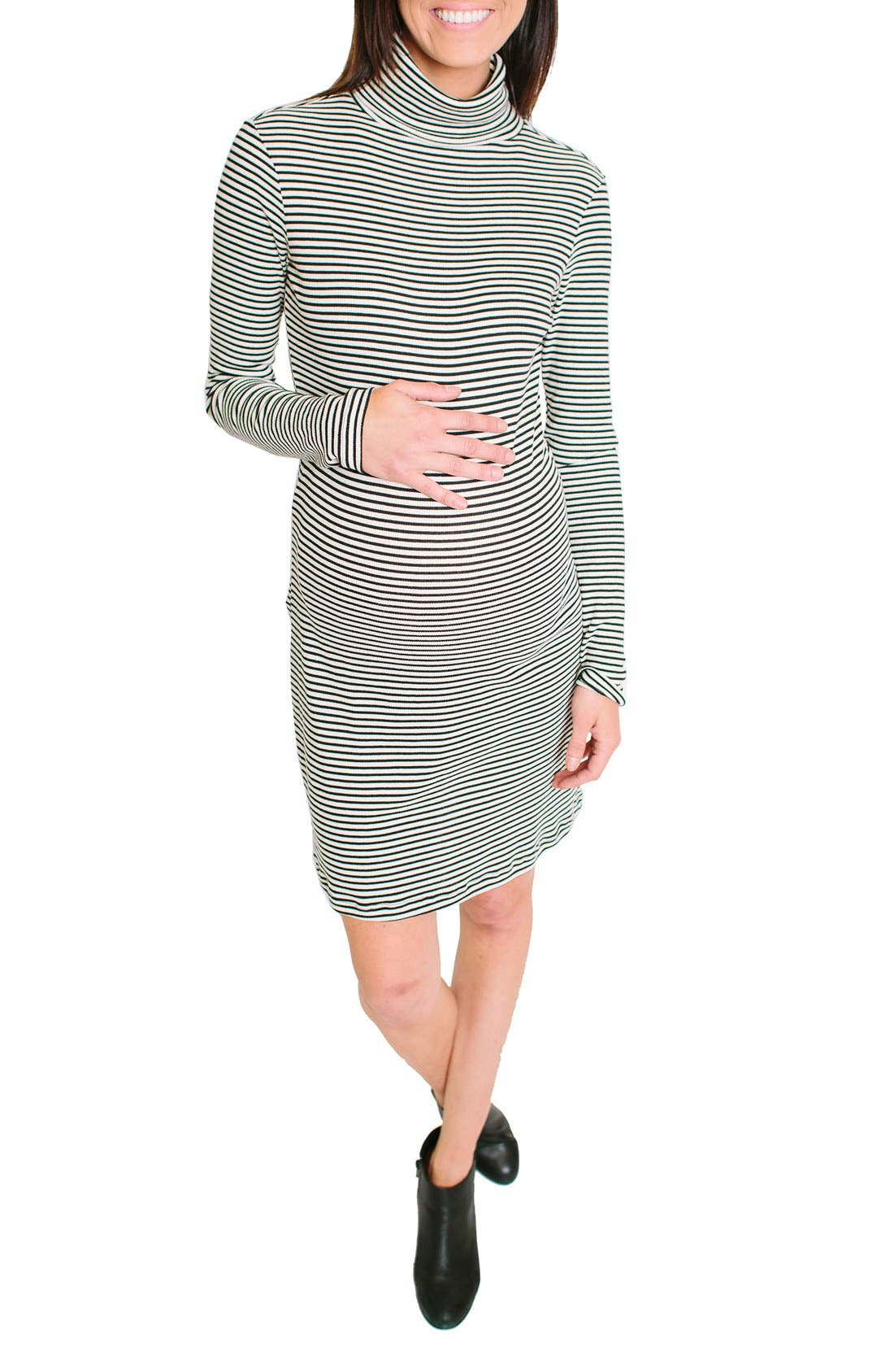 Alternate Image 1 Selected - Nom Maternity Talya Turtleneck Maternity Dress