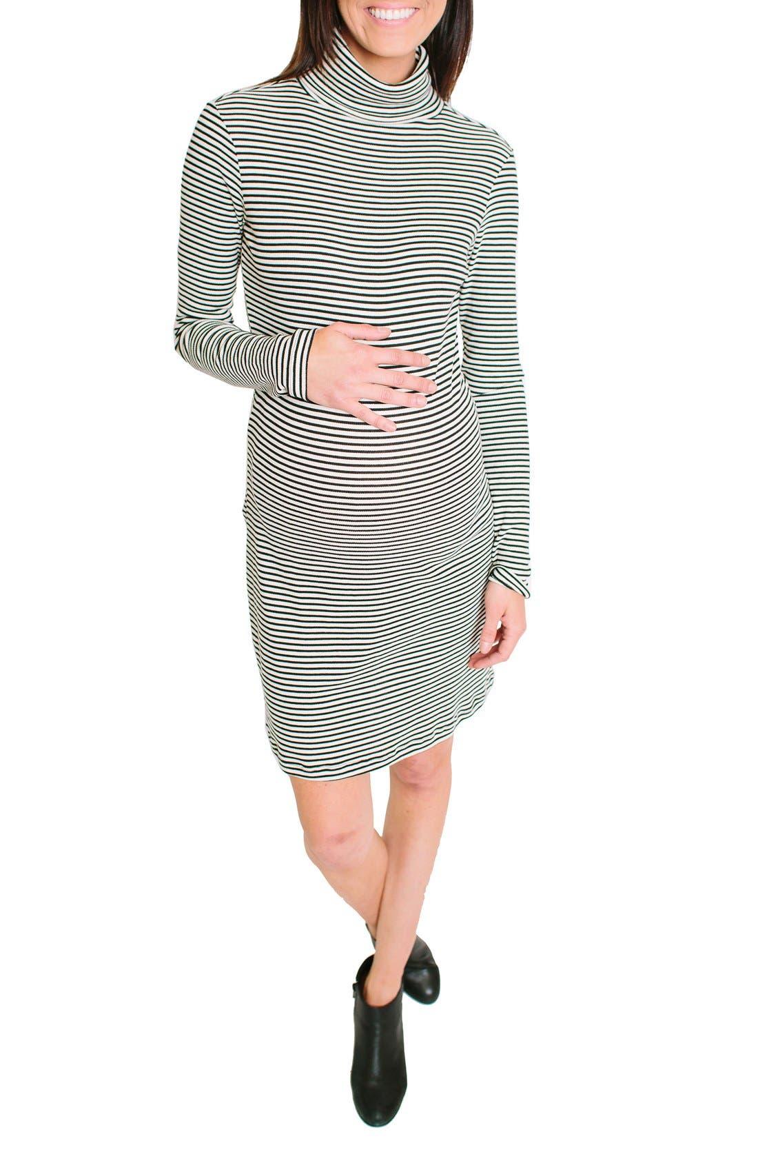 Talya Turtleneck Maternity Dress,                         Main,                         color, Black/ White Rib