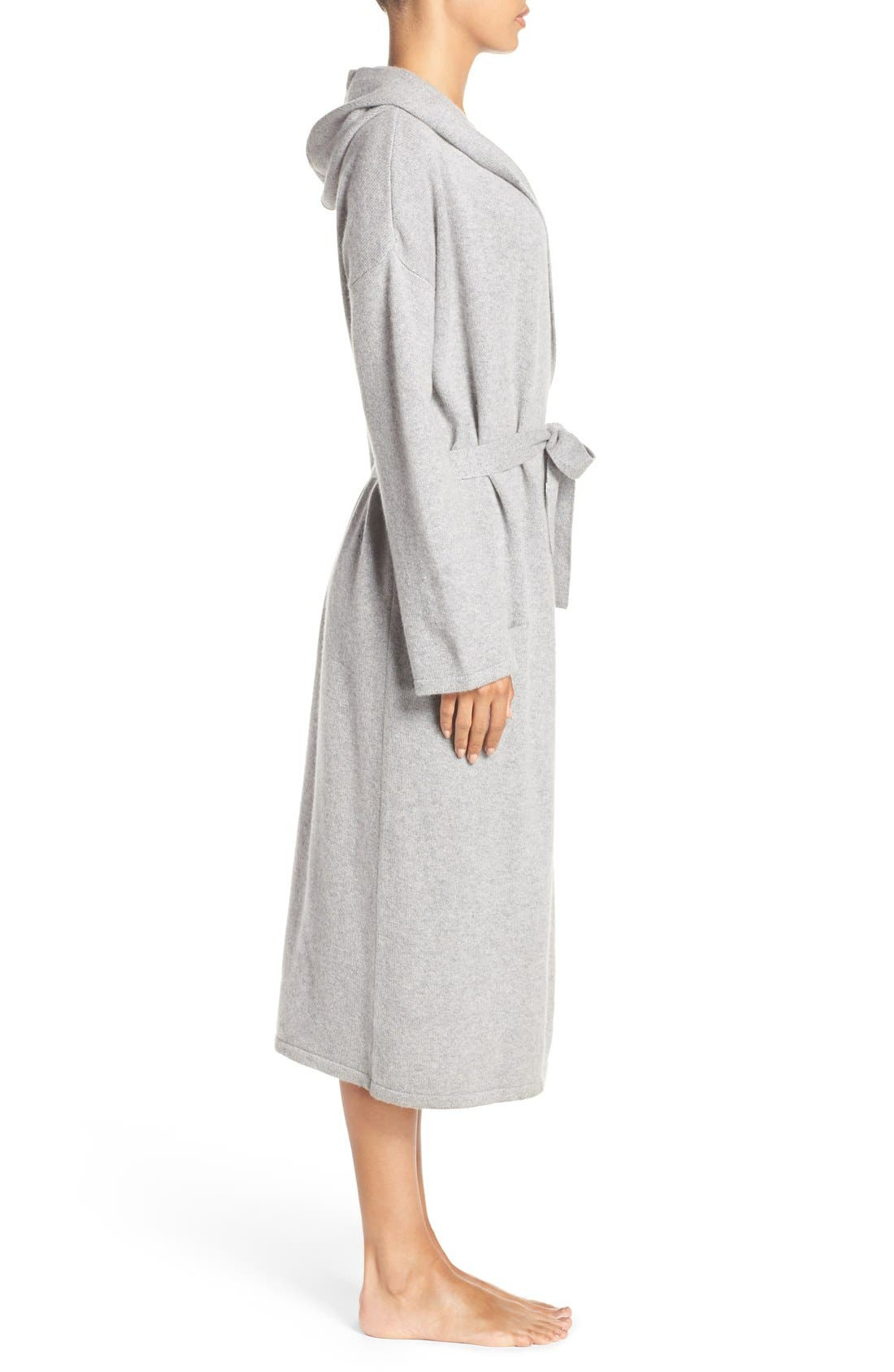 'Evie' Hooded Cashmere Robe,                             Alternate thumbnail 3, color,                             Grey Heather