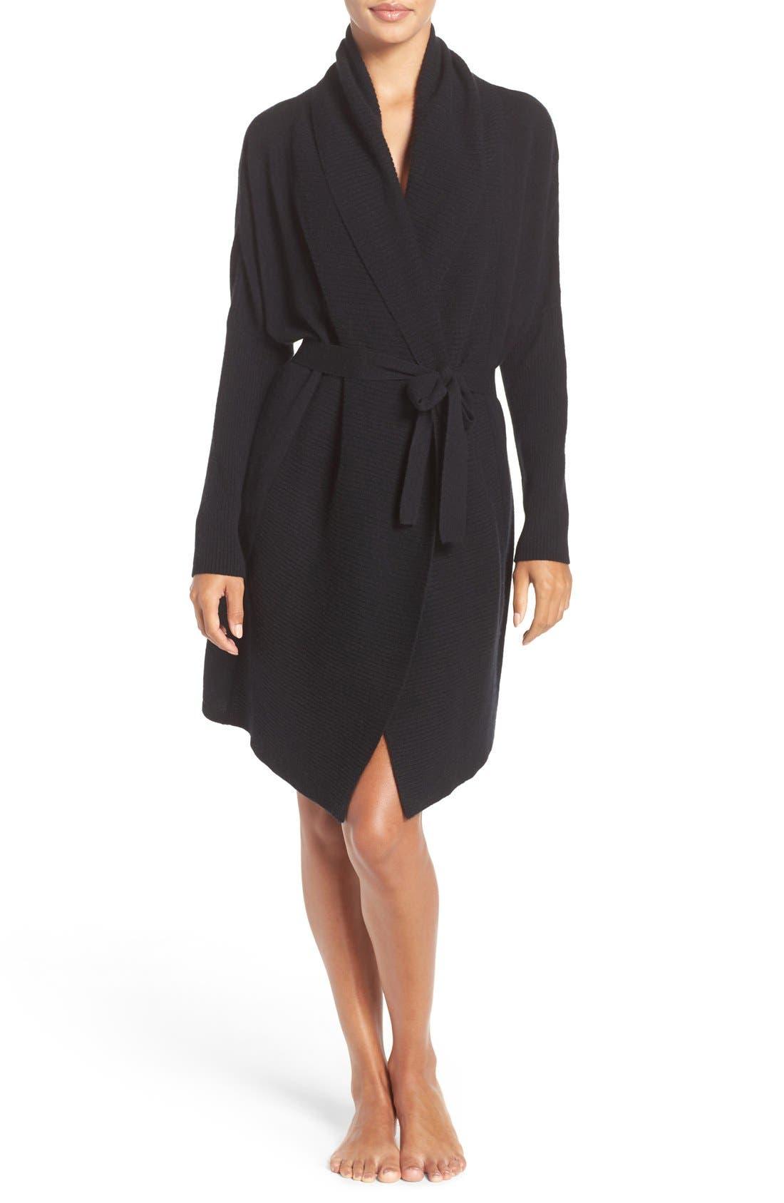 UGG 'Cheyenne' Cashmere Robe,                             Main thumbnail 1, color,                             Black