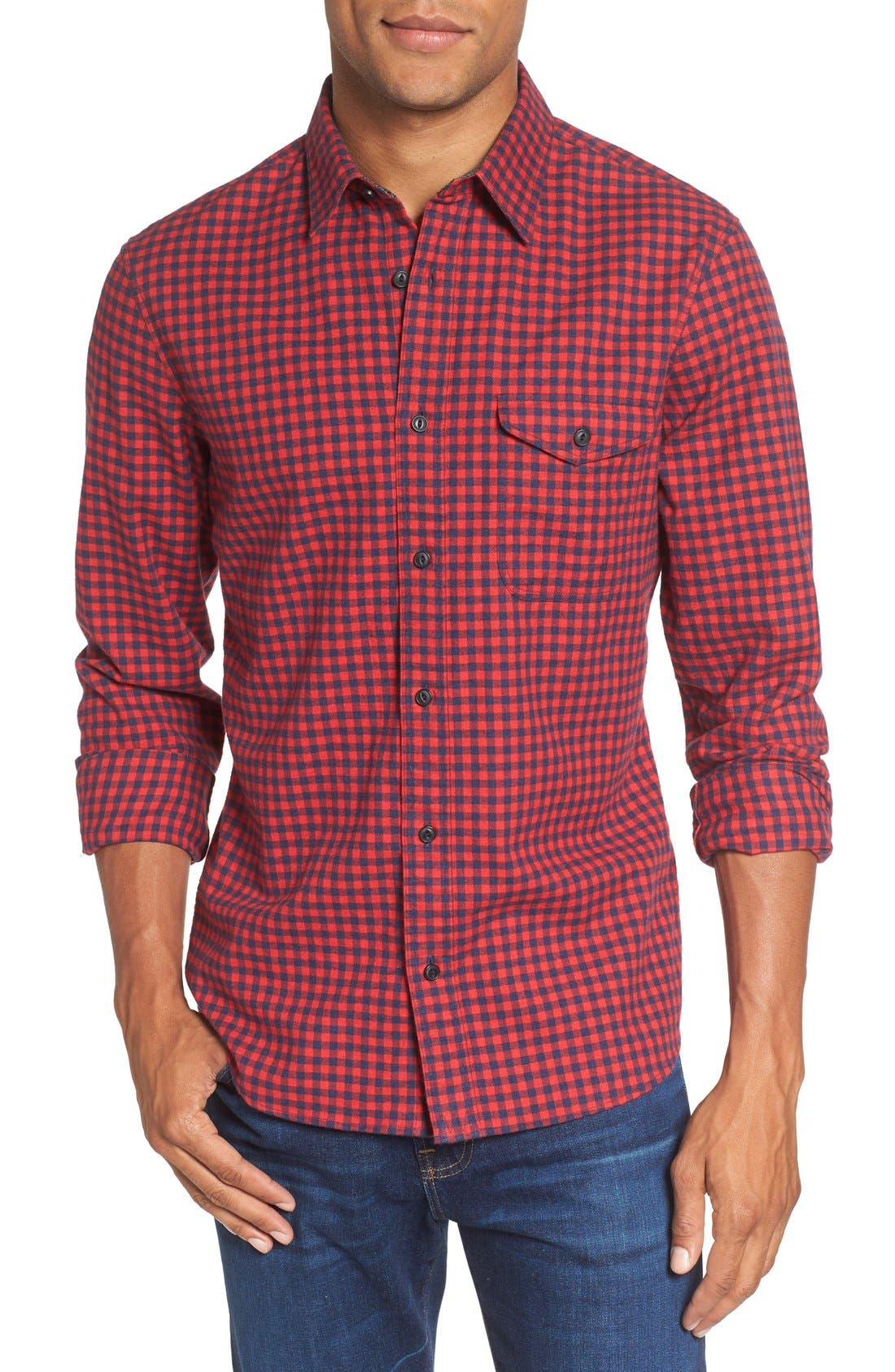 Slim Fit Gingham Flannel Sport Shirt,                         Main,                         color, Red Ribbon Gingham