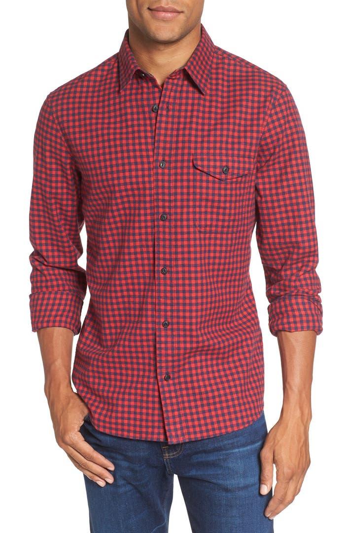 Nordstrom men 39 s shop slim fit gingham flannel sport shirt for Trim fit flannel shirts
