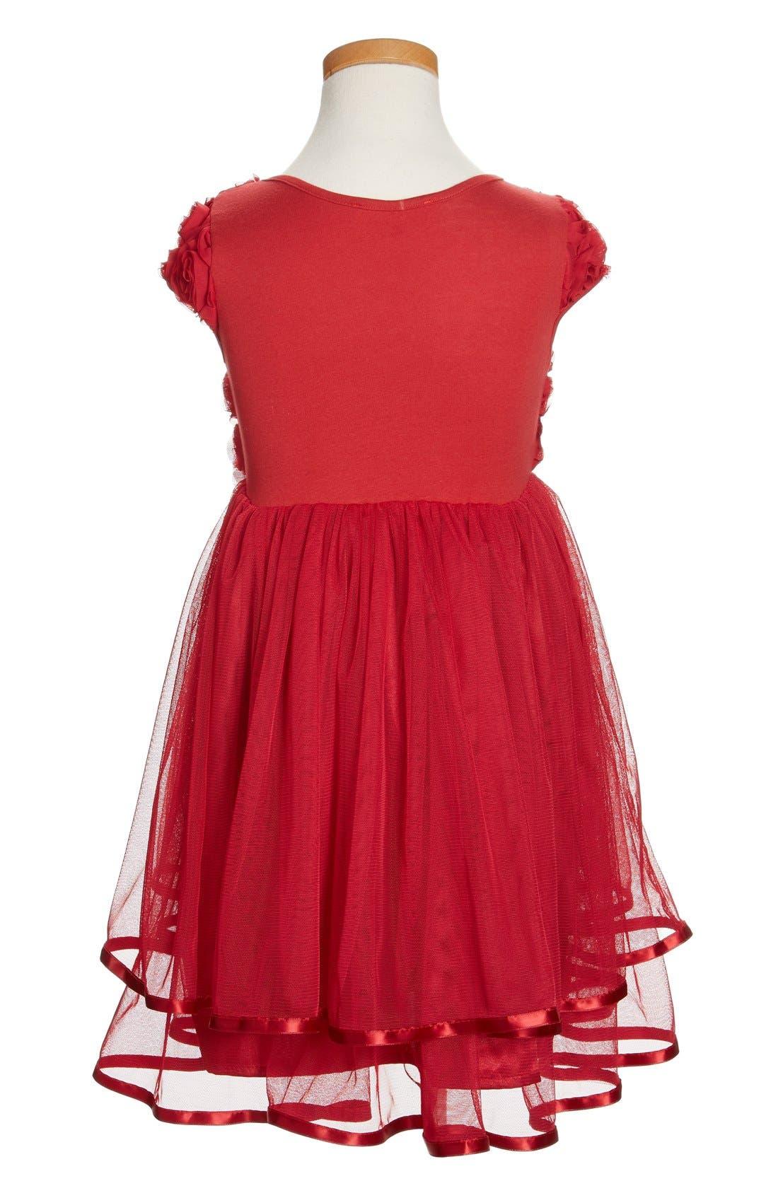 Ribbon Rosette Tulle Dress,                             Alternate thumbnail 2, color,                             Burgundy