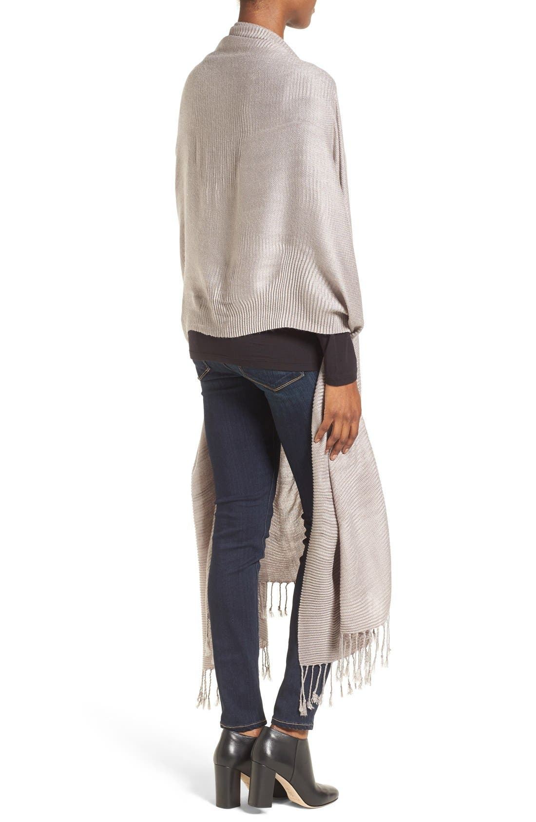 Fringe Textured Wrap,                             Alternate thumbnail 2, color,                             Grey Gull