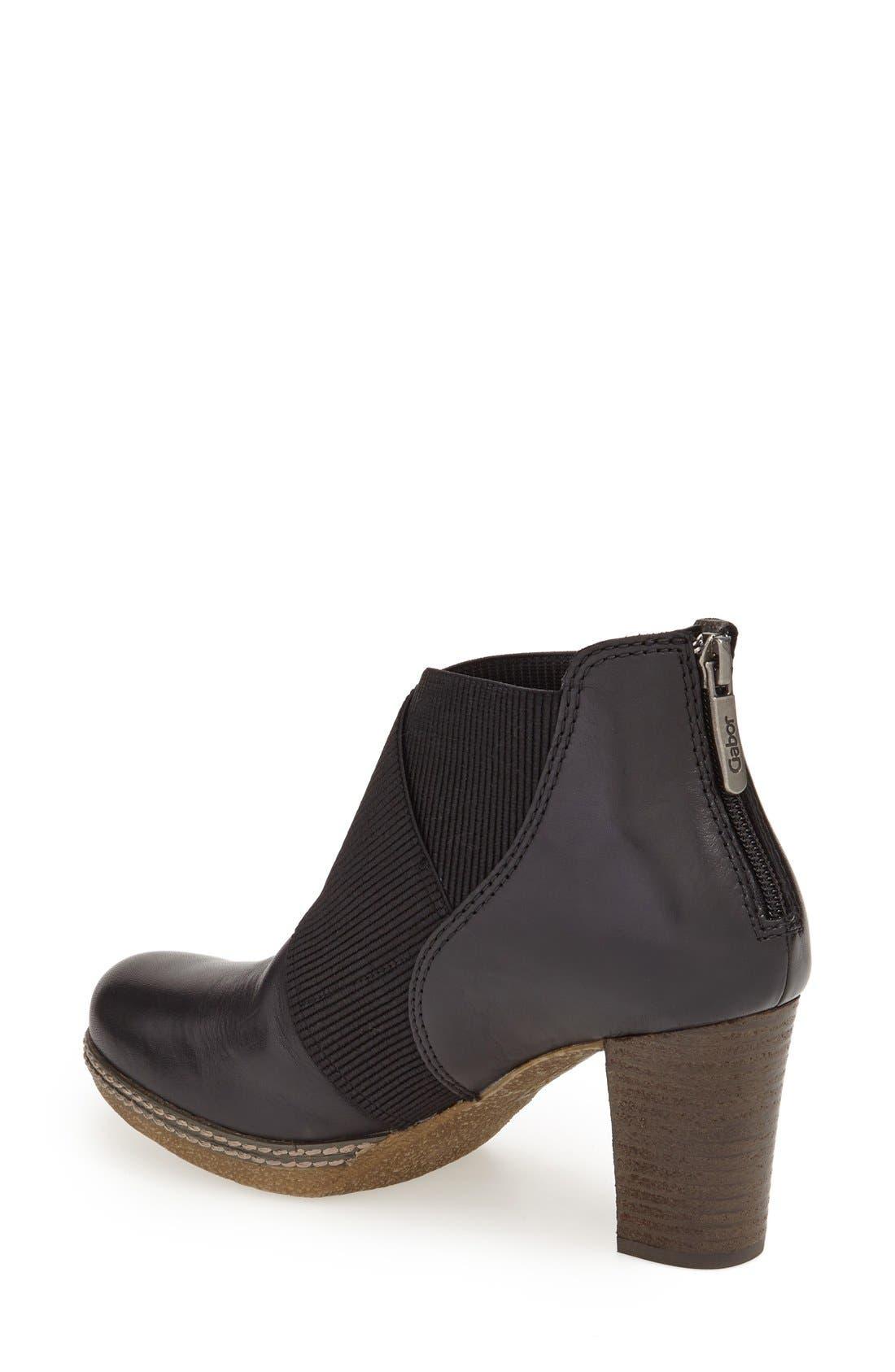 Block Heel Bootie,                             Alternate thumbnail 2, color,                             Black Leather