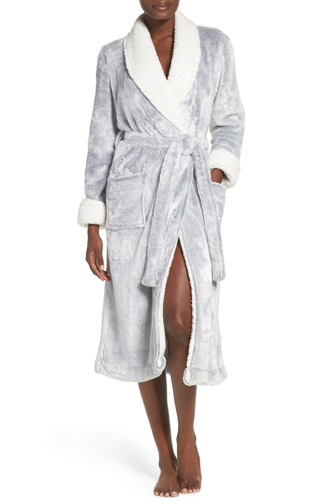 Frosted Plush Robe,                             Main thumbnail 1, color,                             Grey