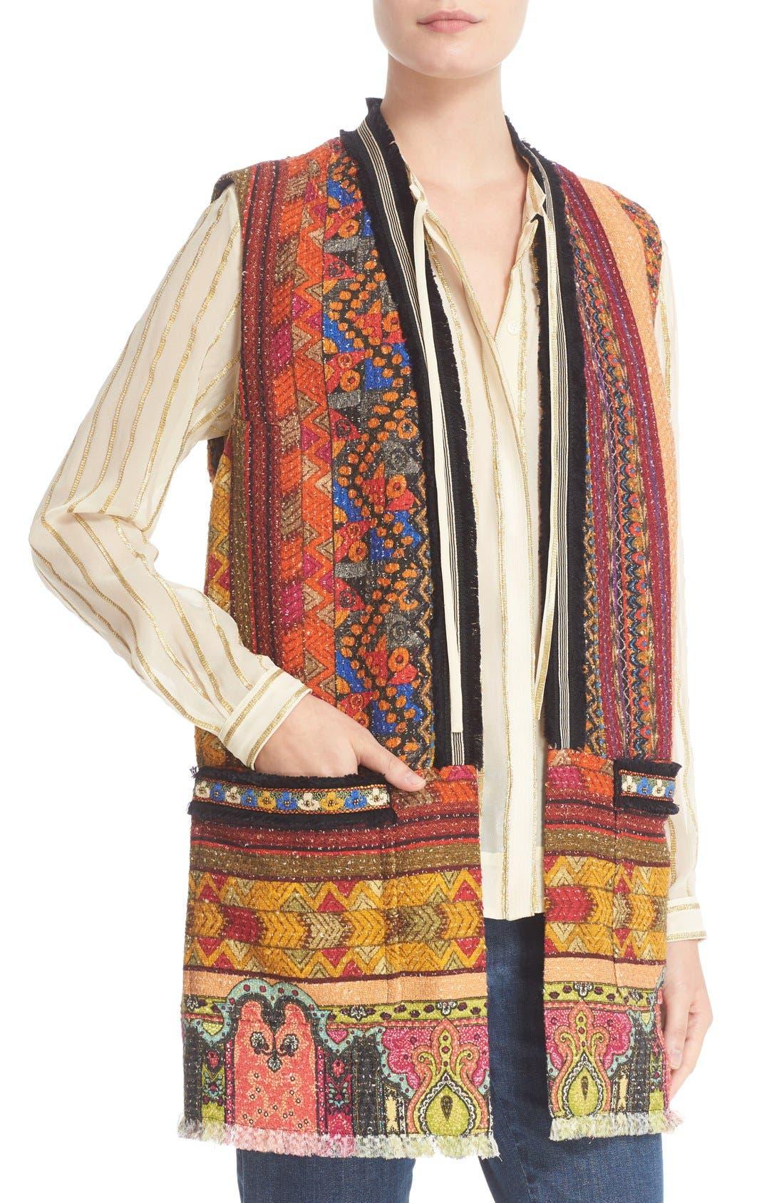 Alternate Image 6  - Etro Ribbon Print Cotton Blend Vest