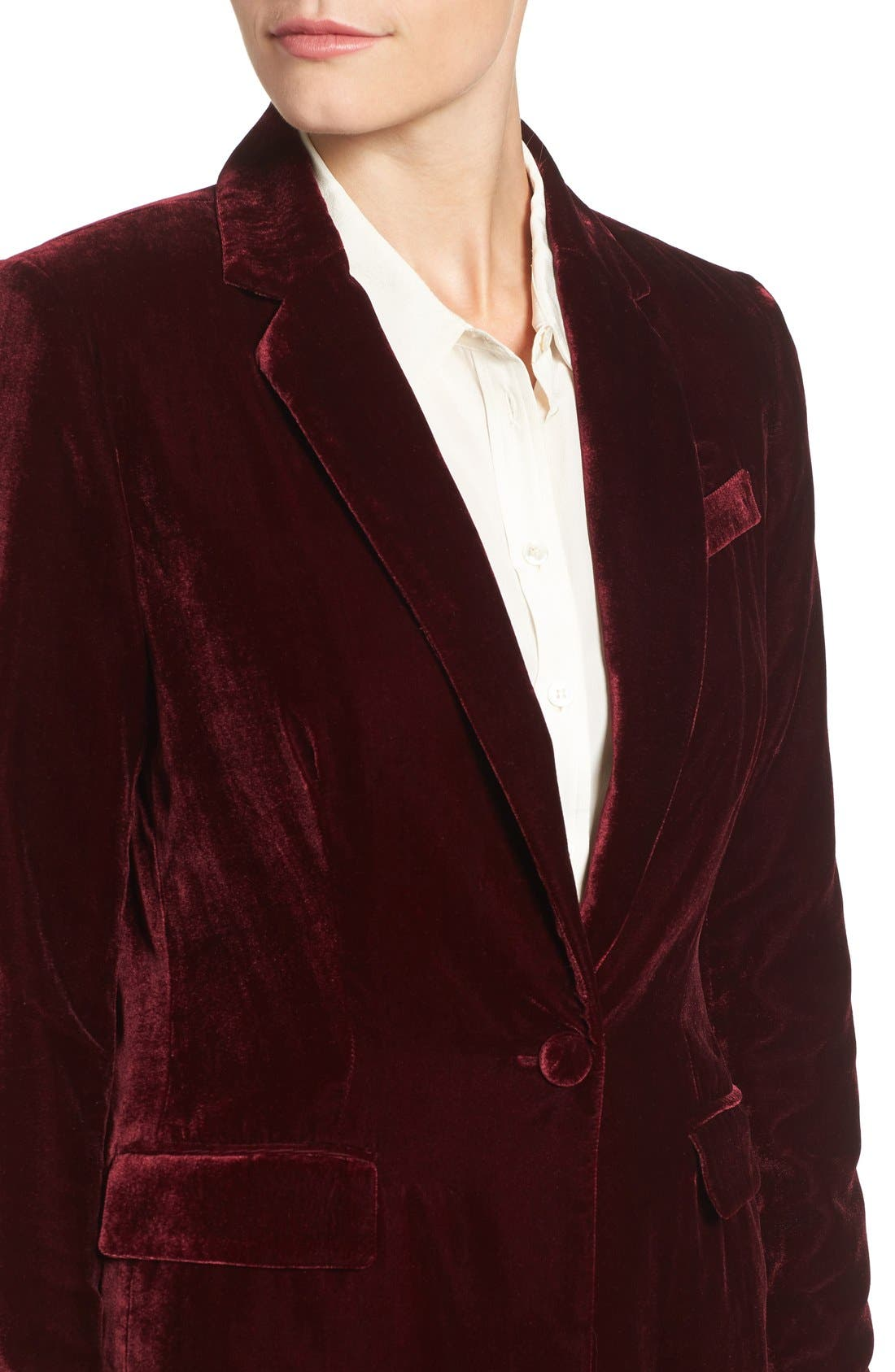 Alternate Image 4  - Halogen® Velvet Blazer (Regular & Petite)
