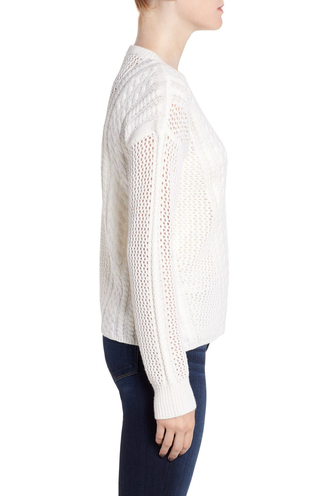 Amory Open Knit Sweater,                             Alternate thumbnail 3, color,                             Ivory
