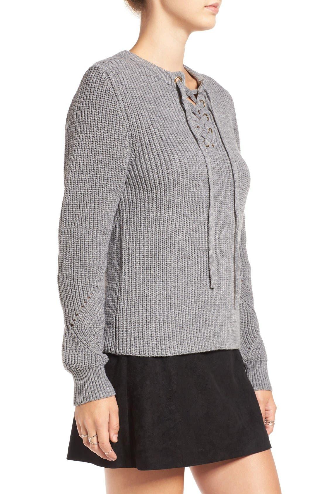 Alternate Image 3  - Elodie Rib Knit Lace-Up Sweater
