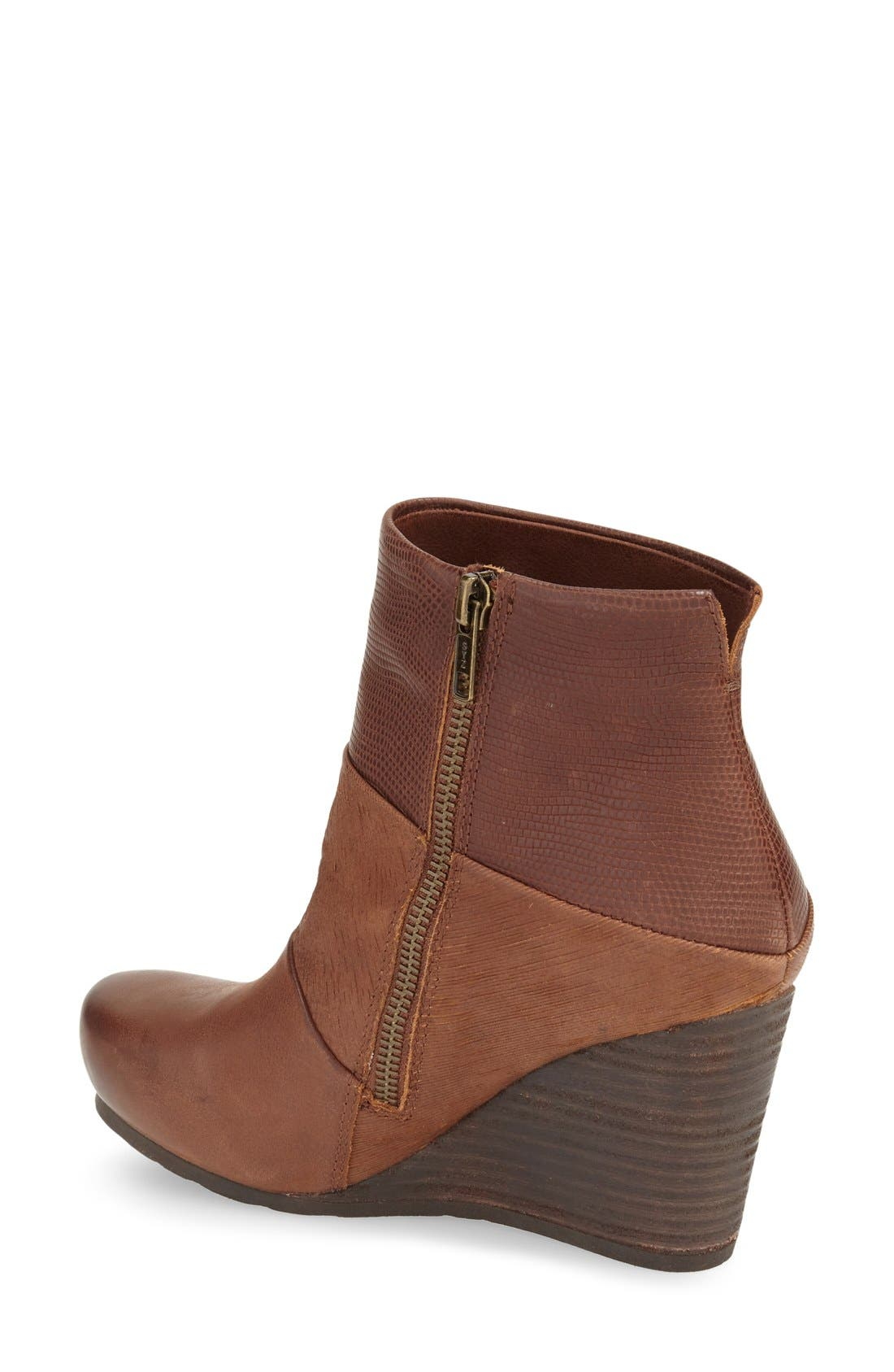 'Dharma' Wedge Bootie,                             Alternate thumbnail 2, color,                             Acorn Leather