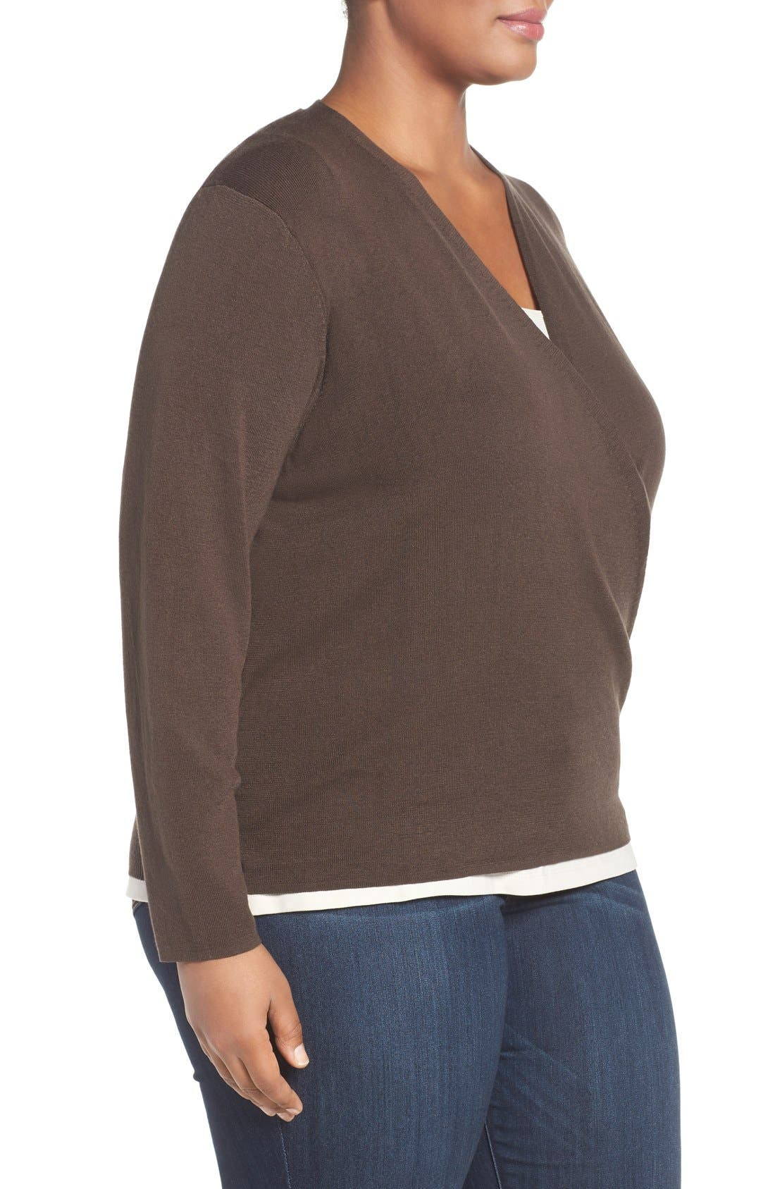 '4-Way' Three Quarter Sleeve Convertible Cardigan,                             Alternate thumbnail 4, color,                             River Rock