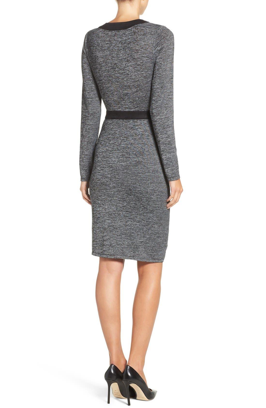 Knit Faux Wrap Dress,                             Alternate thumbnail 2, color,                             Heather/ Black