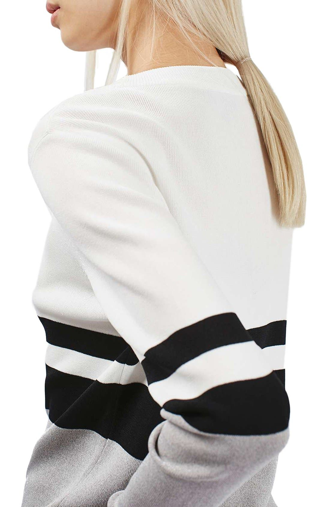 Alternate Image 4  - Topshop Sporty Stripe Sweater