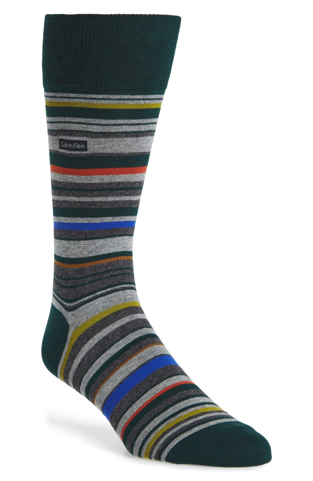 Multistripe Emblem Socks,                             Main thumbnail 1, color,                             Spruce