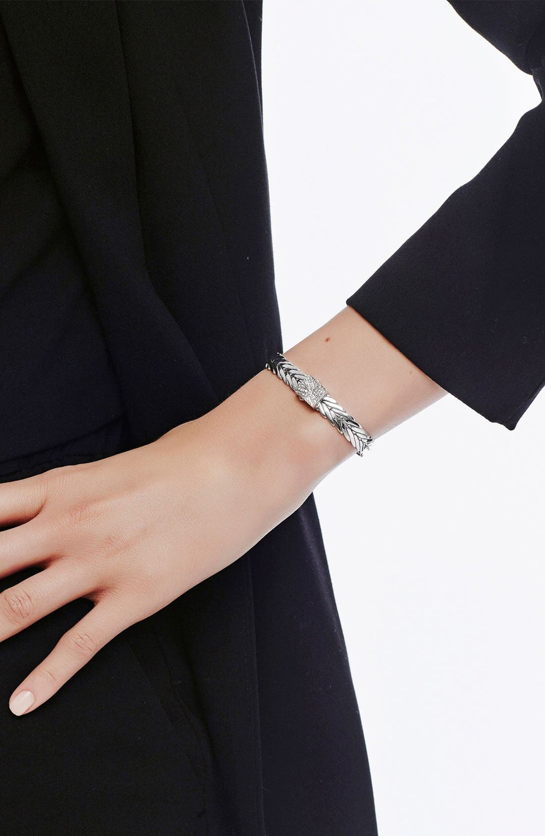 Modern Chain 8mm Bracelet,                             Alternate thumbnail 3, color,                             Silver/Diamond
