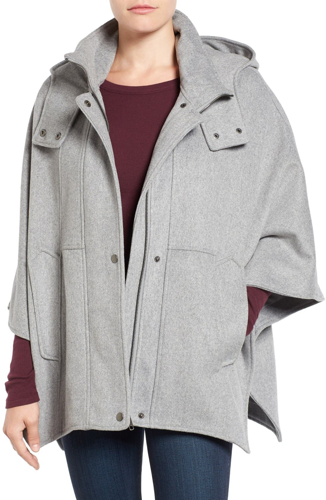 Alternate Image 1 Selected - Halogen® Snap Front Hooded Cape