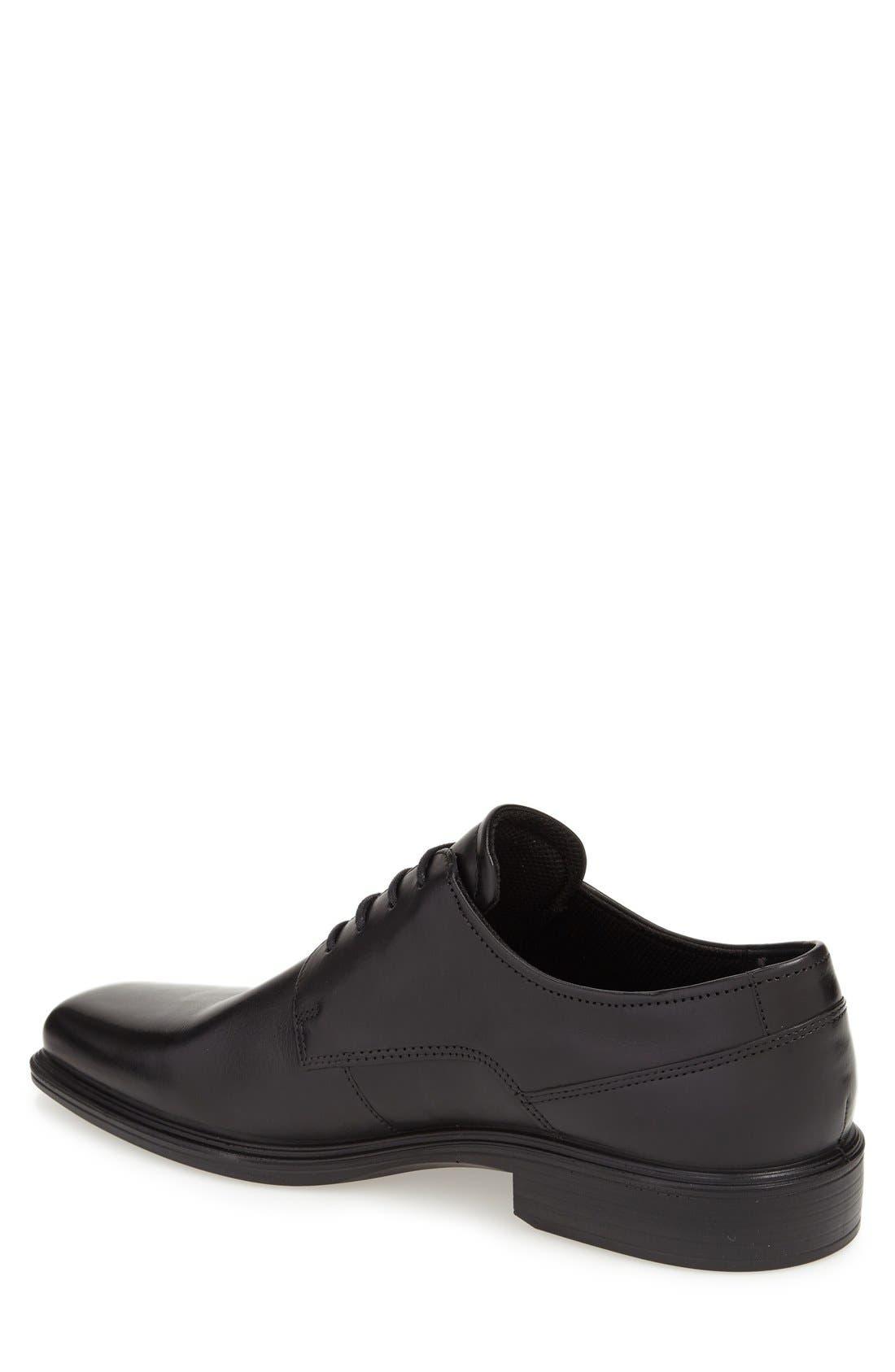 'Johannesburg' Plain Toe Derby,                             Alternate thumbnail 2, color,                             Black Leather