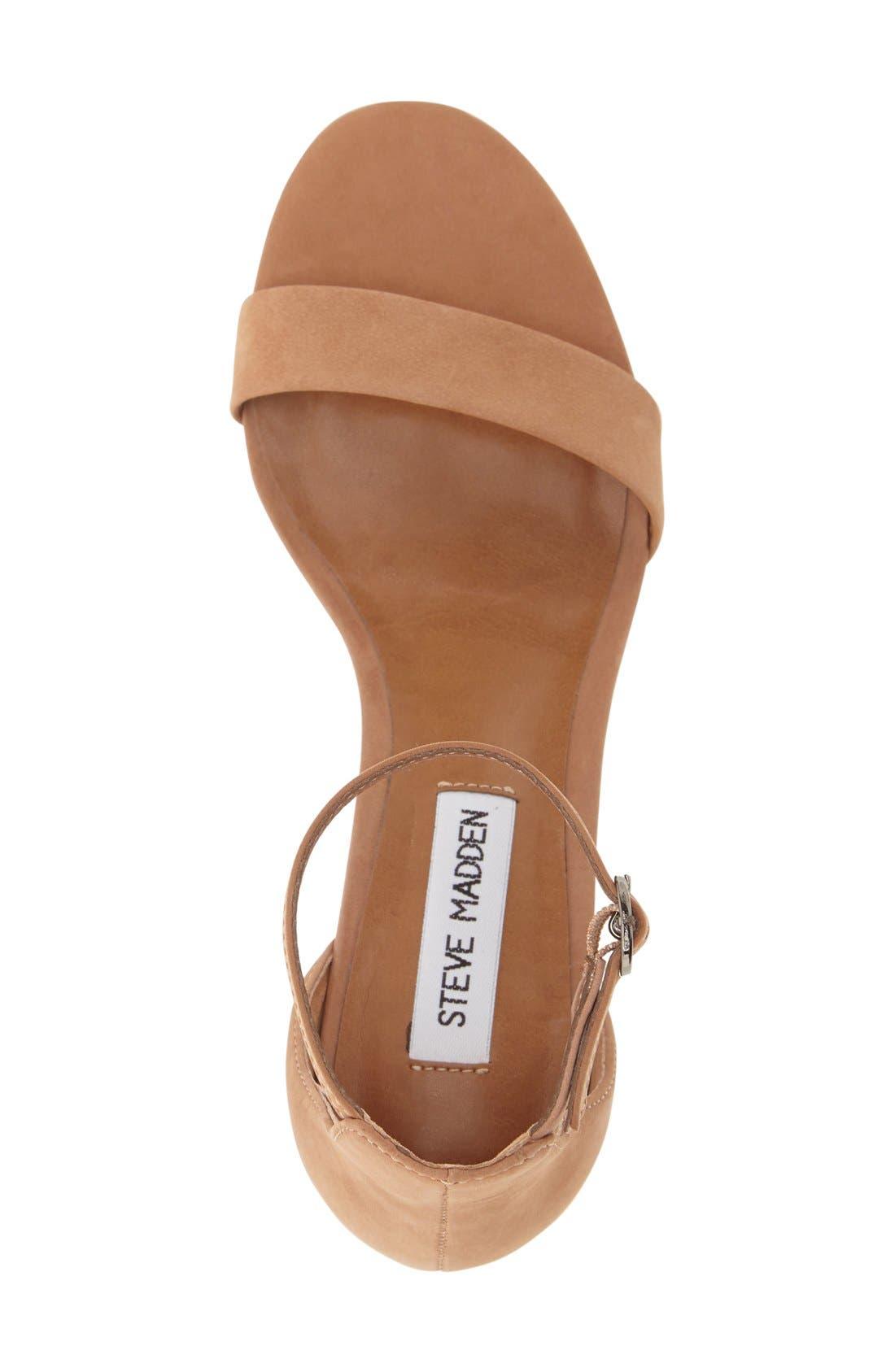 Irenee Ankle Strap Sandal,                             Alternate thumbnail 3, color,                             Tan Nubuck