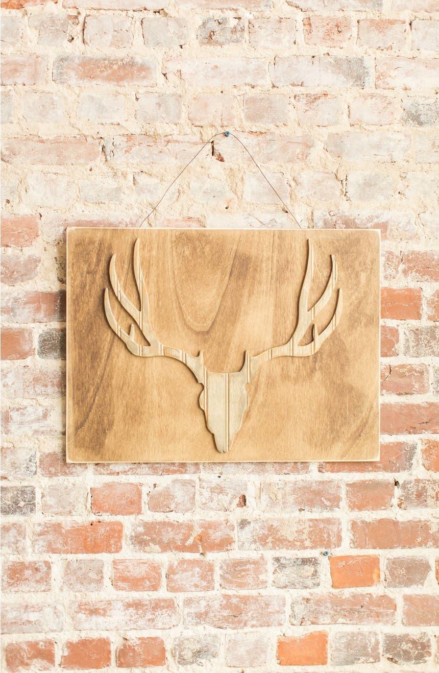 grace graffiti Deer Head Distressed Wood Wall Art | Nordstrom