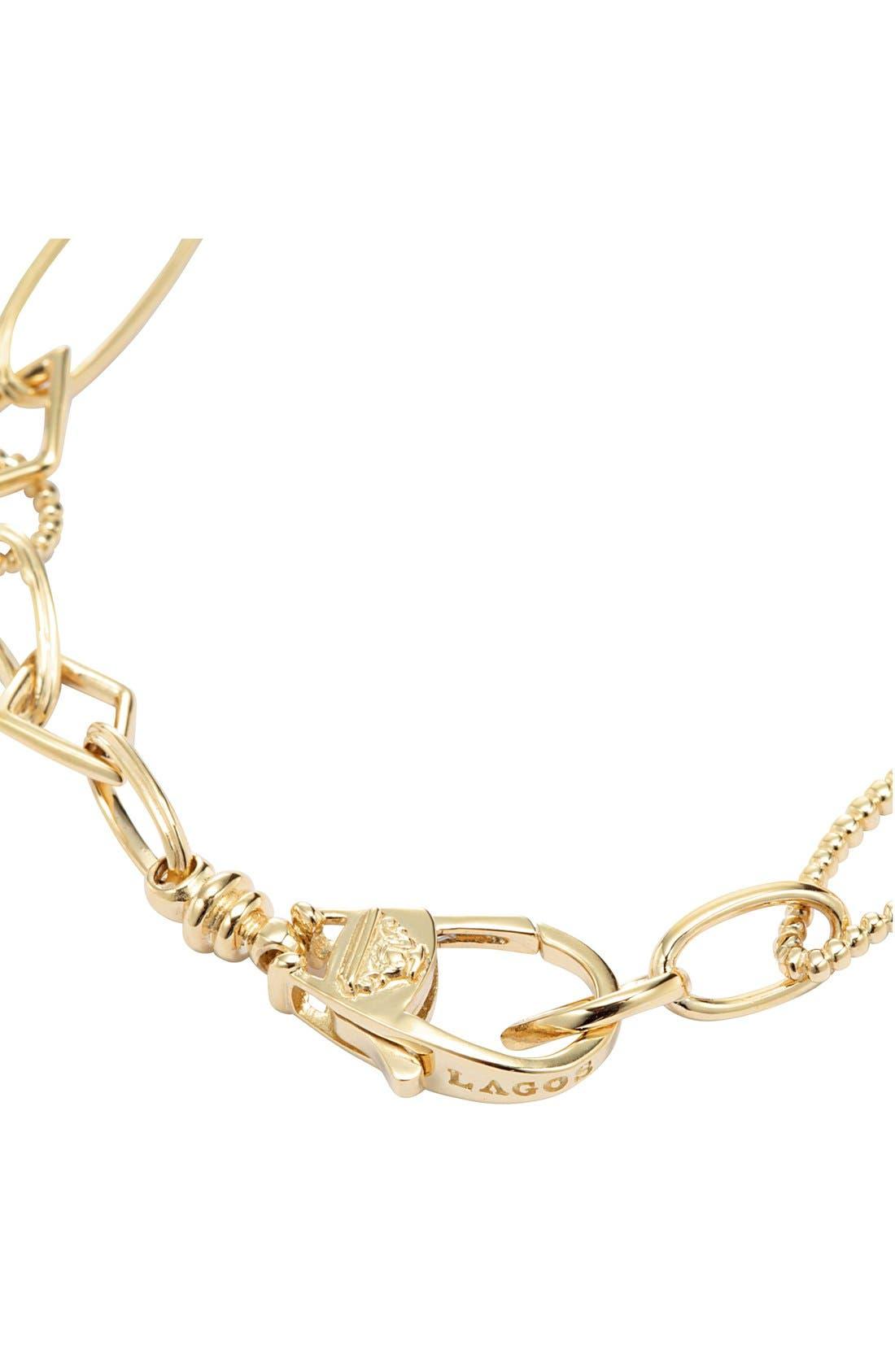 'Caviar Gold' Link Bracelet,                             Alternate thumbnail 3, color,                             Gold
