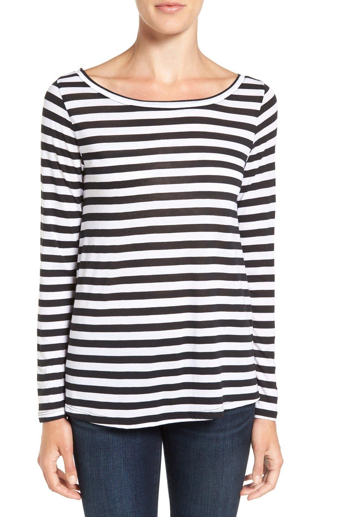 Slouchy Stripe Boatneck Tee,                         Main,                         color, Black Half Inch Stripe