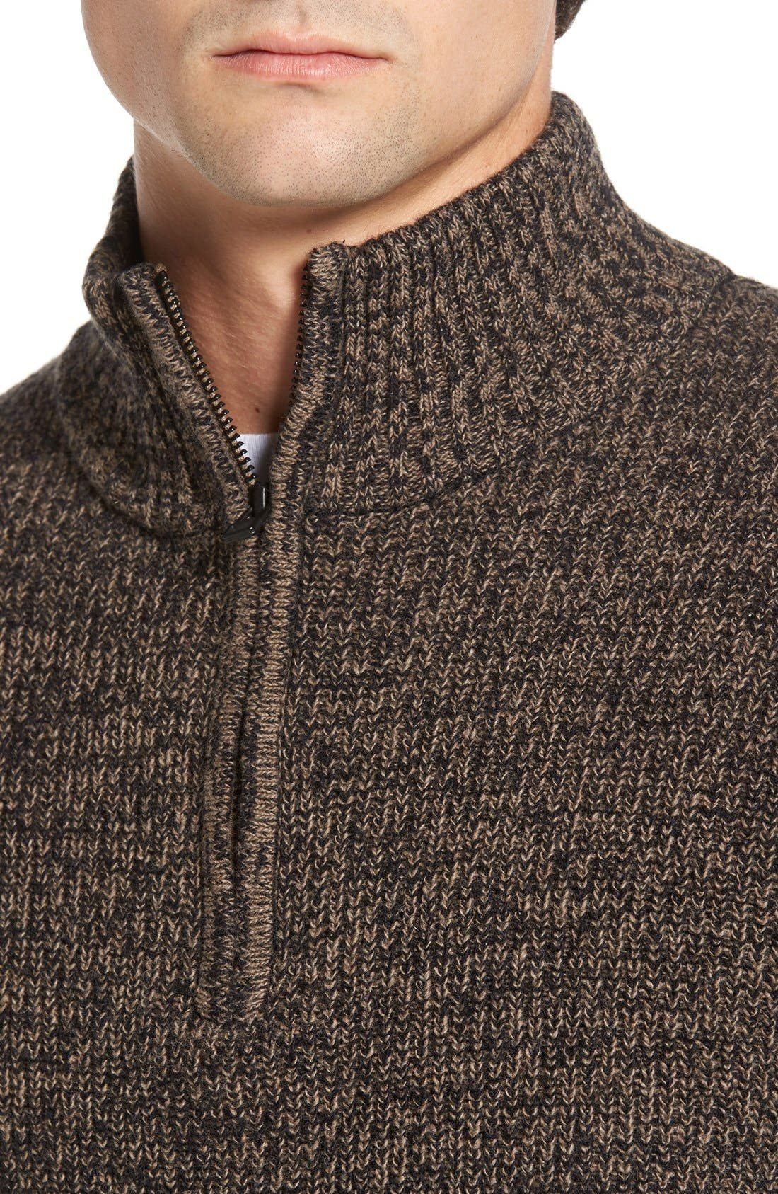 'Woodglen' Herringbone Knit Lambswool Quarter Zip Sweater,                             Alternate thumbnail 4, color,                             Walnut