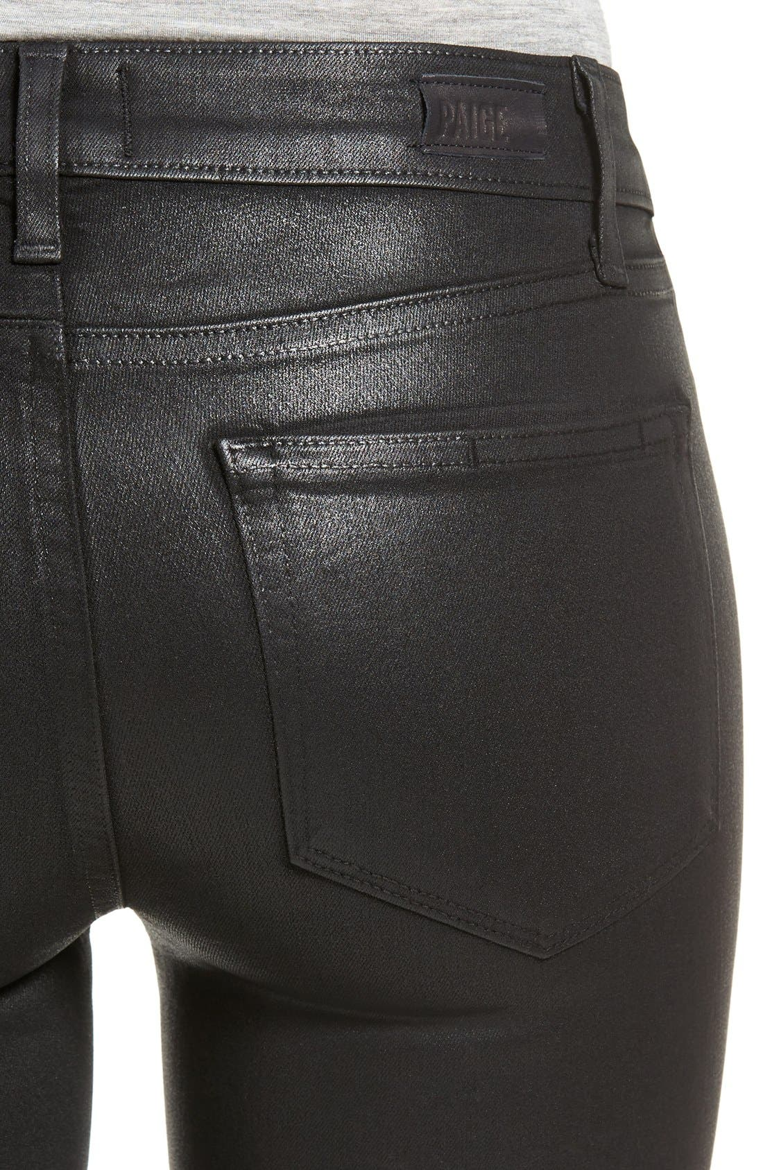 Alternate Image 4  - PAIGE Verdugo Coated Ankle Skinny Jeans (Black Fog Luxe Coated) (Nordstrom Exclusive)