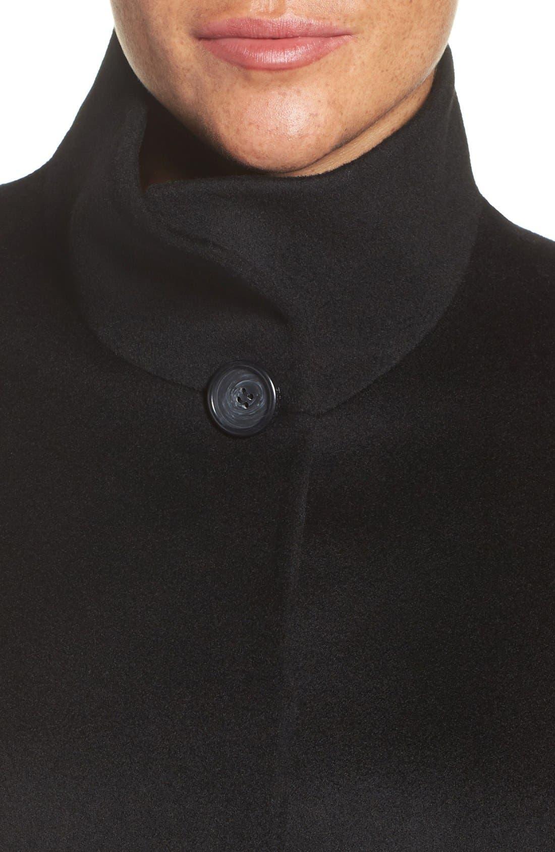 Loro Piana Wool Car Coat,                             Alternate thumbnail 4, color,                             Black