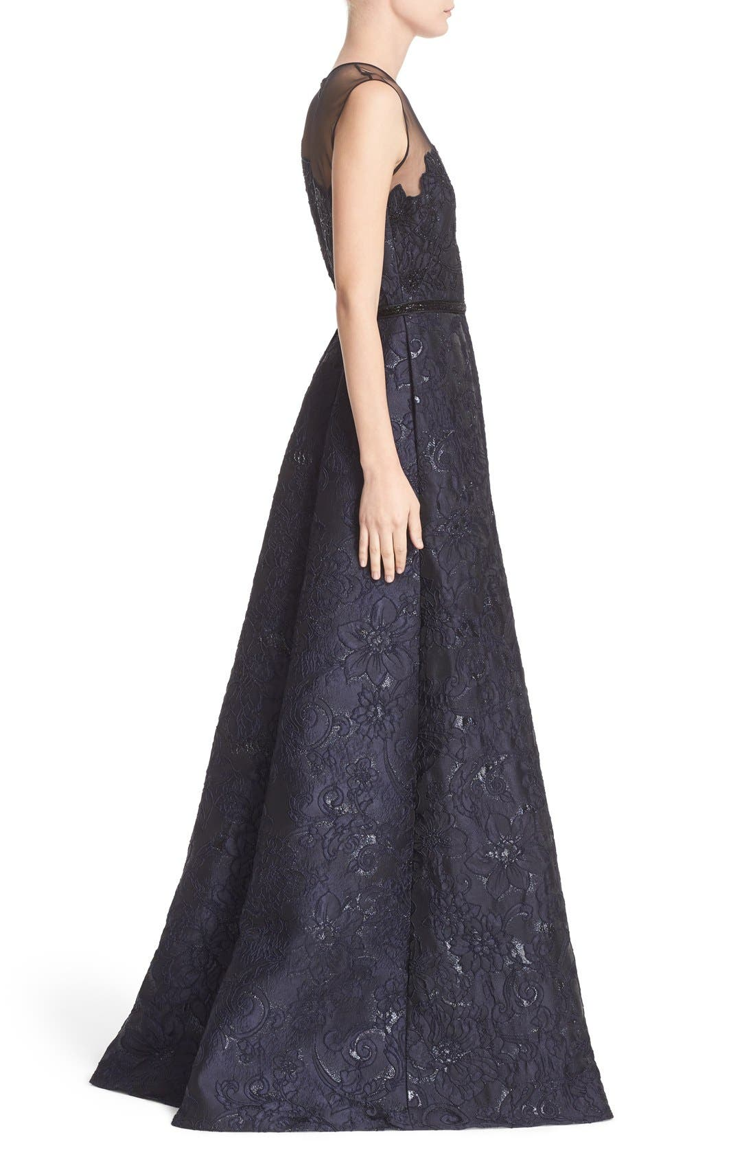 Illusion Yoke Embroidered Jacquard A-Line Gown,                             Alternate thumbnail 4, color,                             Midnight