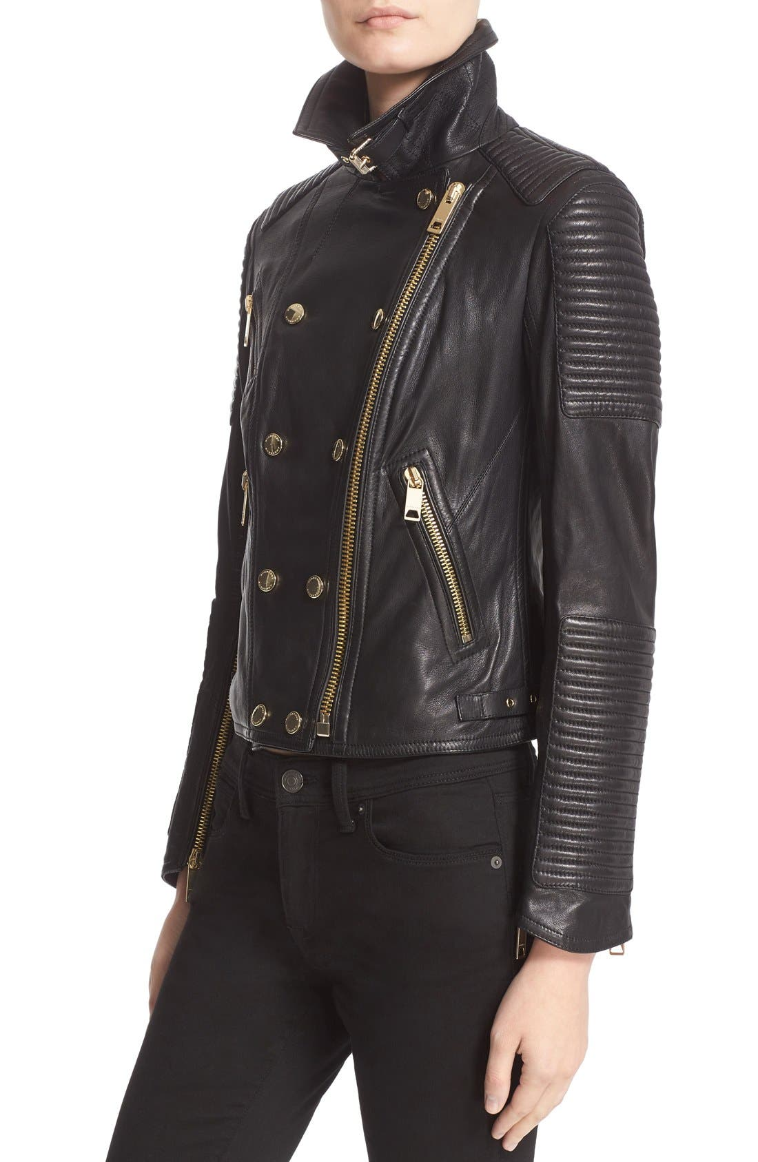 Alternate Image 6  - Burberry Brit 'Colefield' Double Breasted Leather Jacket