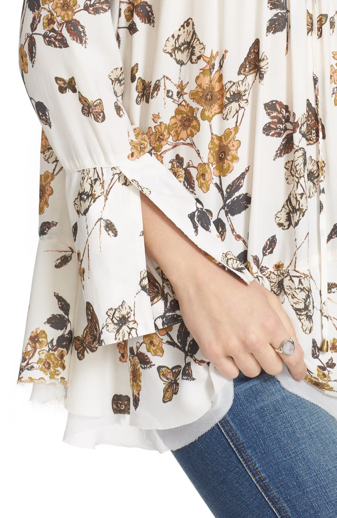 Floral Print Smocked Tunic,                             Alternate thumbnail 4, color,                             Ivory Combo